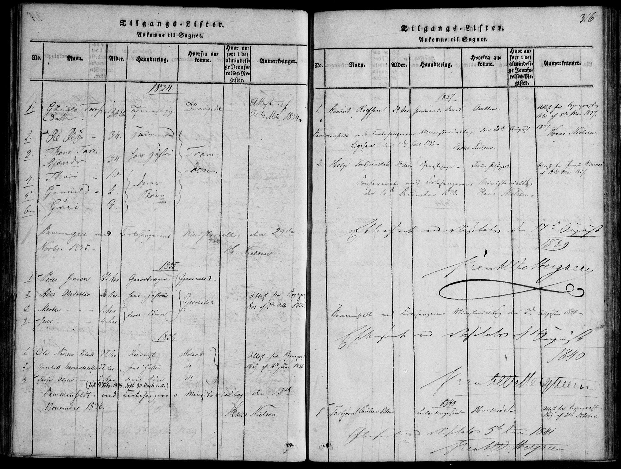 SAKO, Nissedal kirkebøker, F/Fb/L0001: Ministerialbok nr. II 1, 1814-1845, s. 316