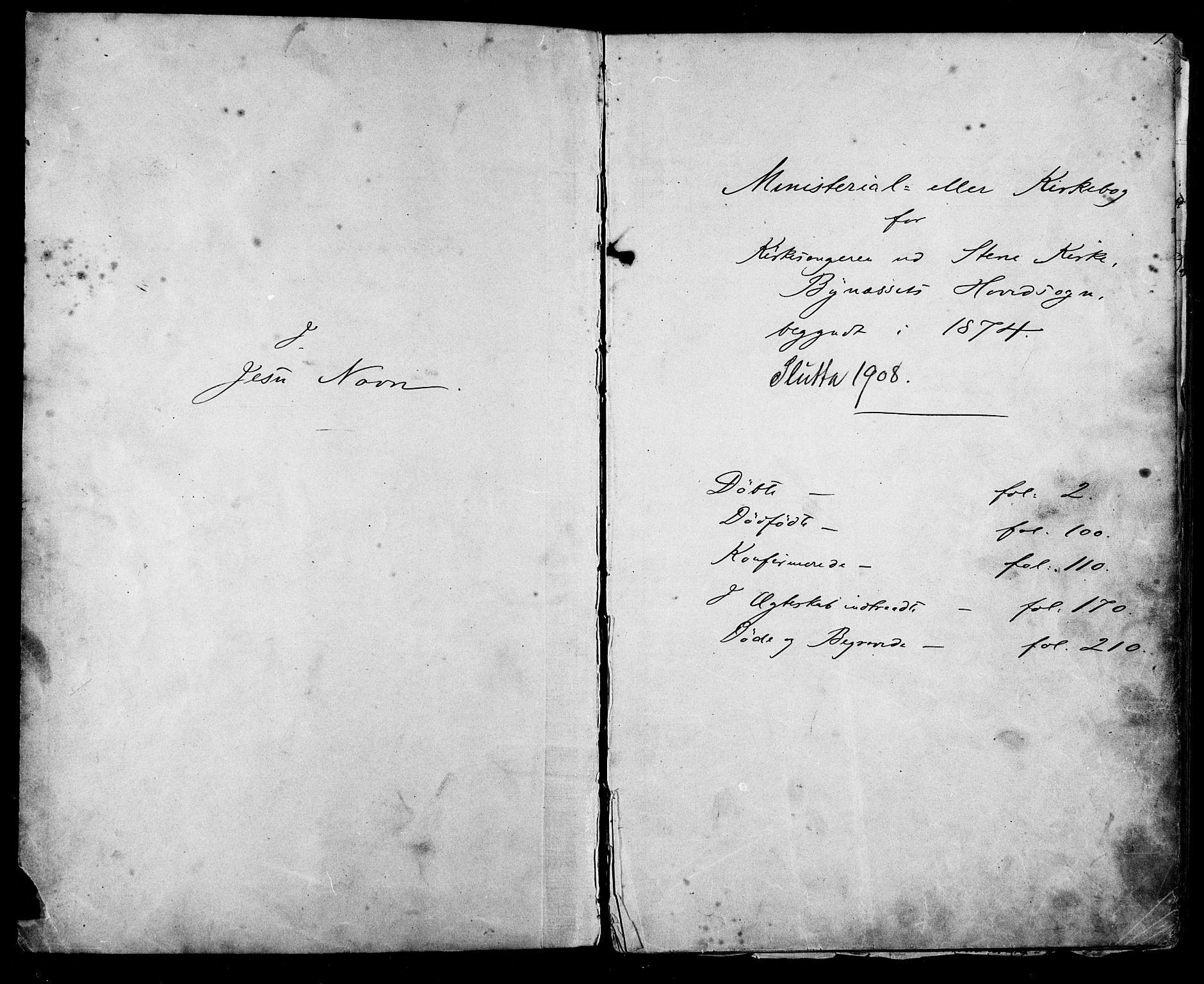 SAT, Ministerialprotokoller, klokkerbøker og fødselsregistre - Sør-Trøndelag, 612/L0387: Klokkerbok nr. 612C03, 1874-1908, s. 1