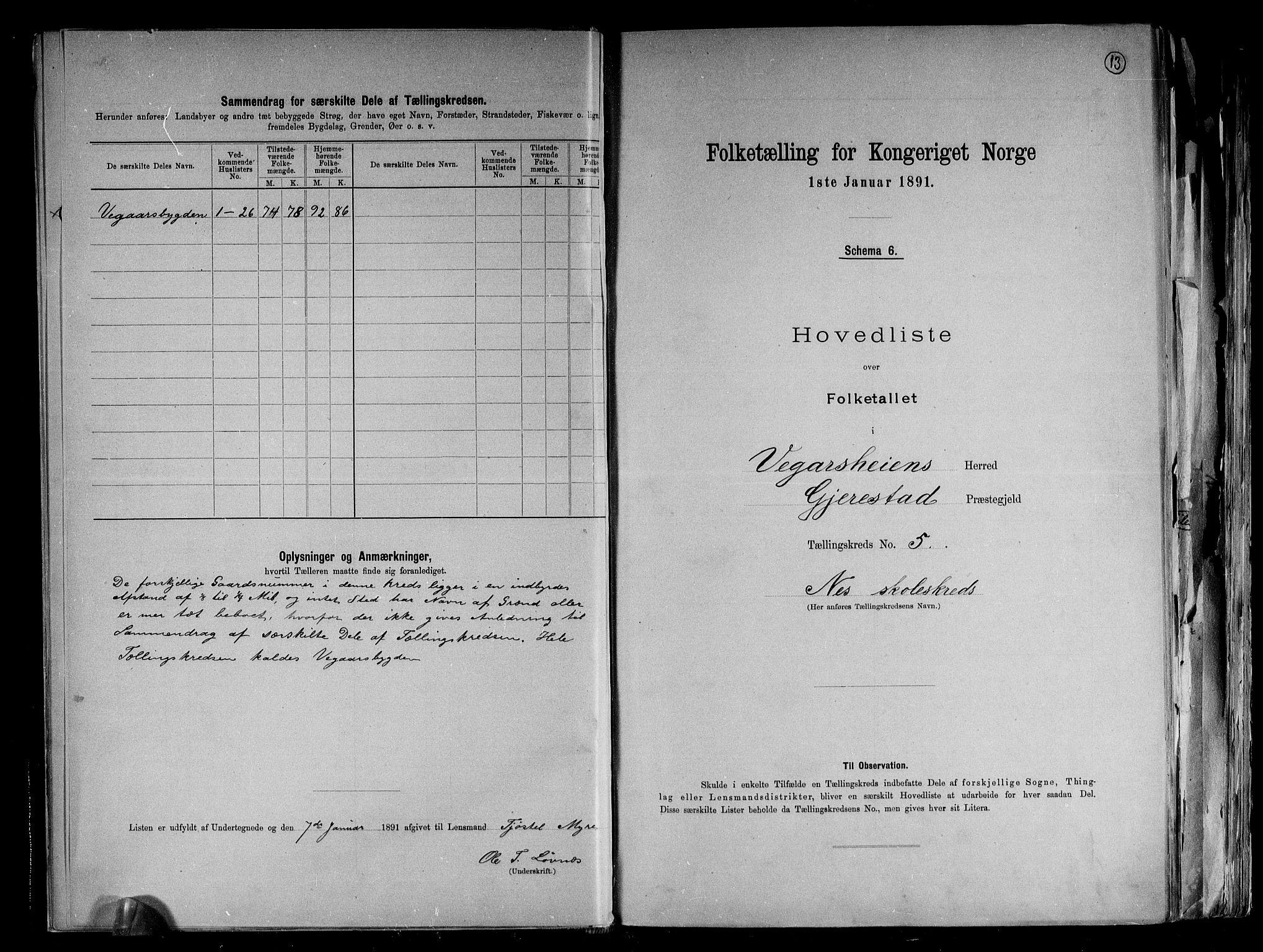RA, Folketelling 1891 for 0912 Vegårshei herred, 1891, s. 13