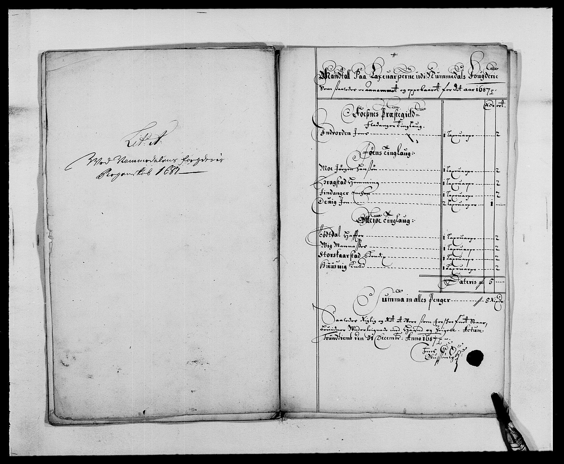 RA, Rentekammeret inntil 1814, Reviderte regnskaper, Fogderegnskap, R64/L4422: Fogderegnskap Namdal, 1687-1689, s. 11
