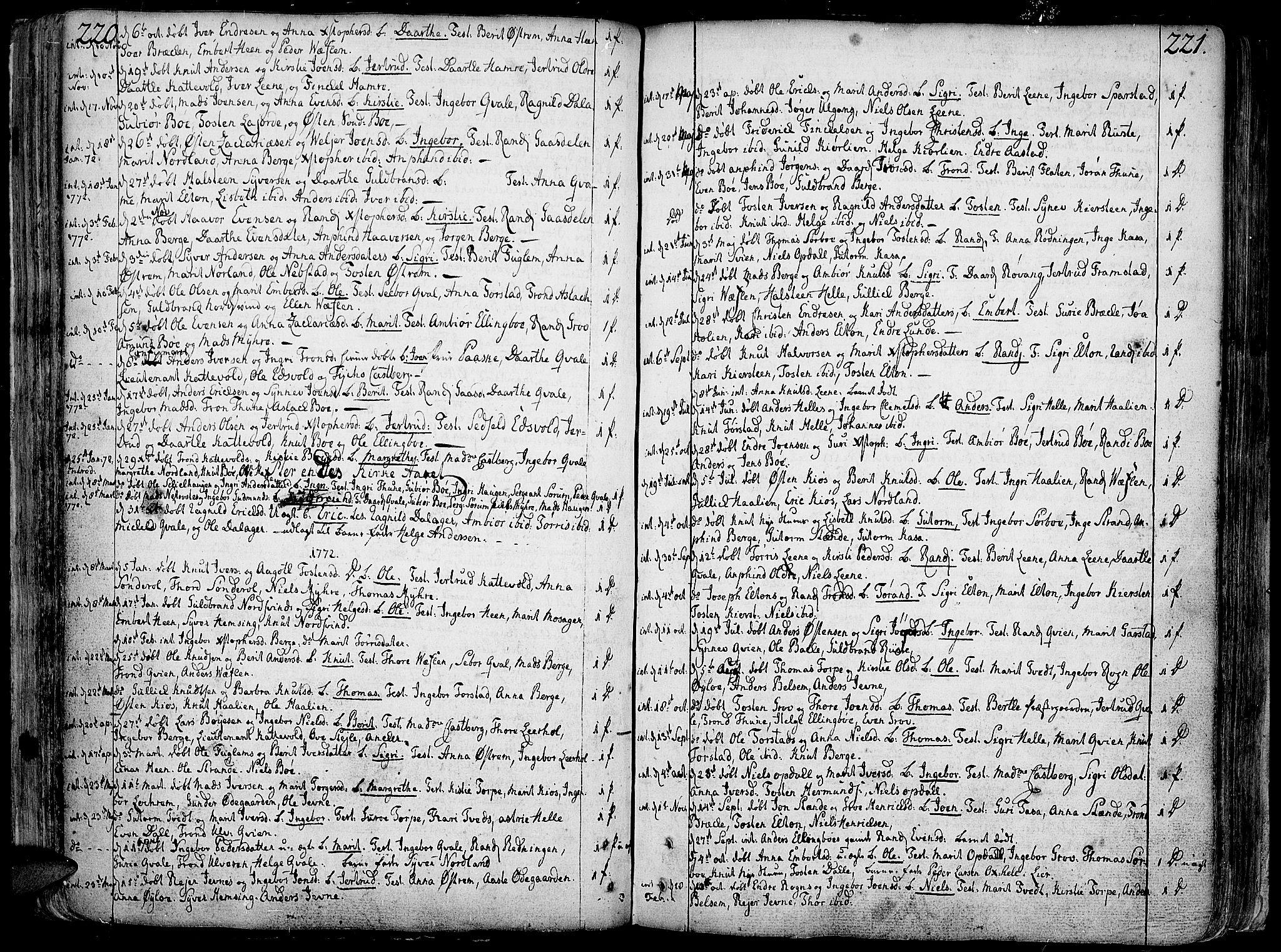 SAH, Vang prestekontor, Valdres, Ministerialbok nr. 1, 1730-1796, s. 220-221