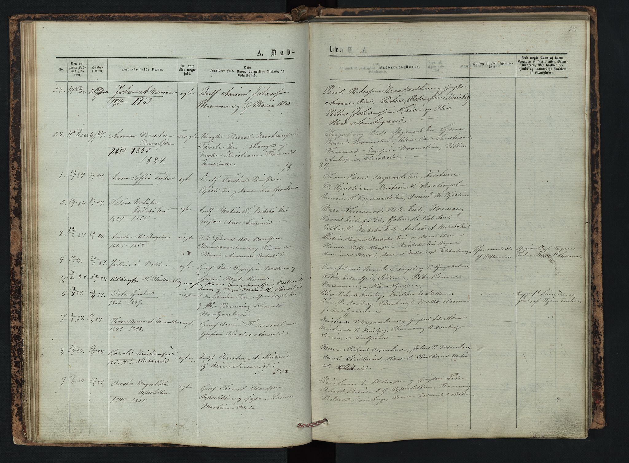 SAH, Vestre Gausdal prestekontor, Klokkerbok nr. 2, 1874-1897, s. 27