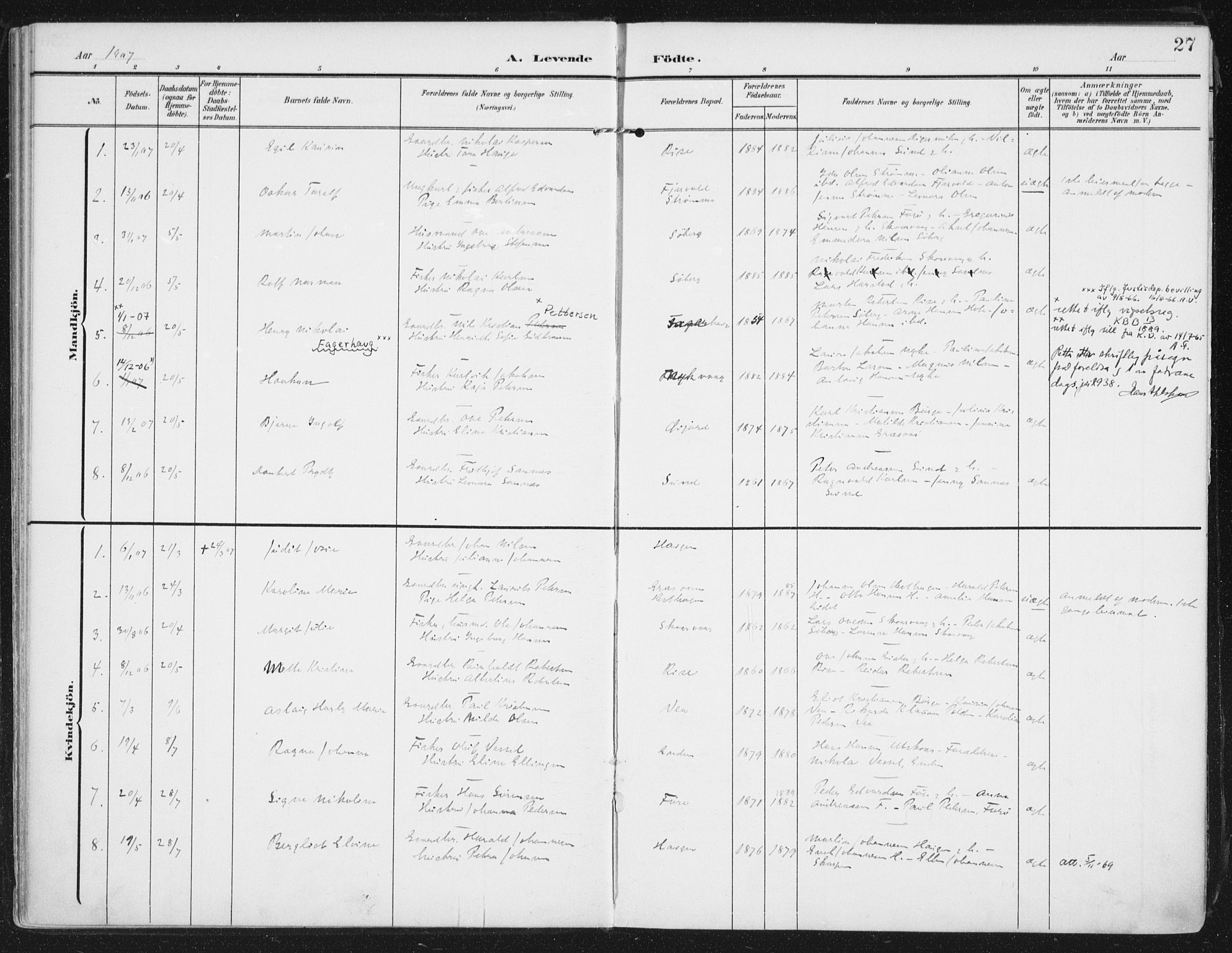 SAT, Ministerialprotokoller, klokkerbøker og fødselsregistre - Nordland, 892/L1321: Ministerialbok nr. 892A02, 1902-1918, s. 27