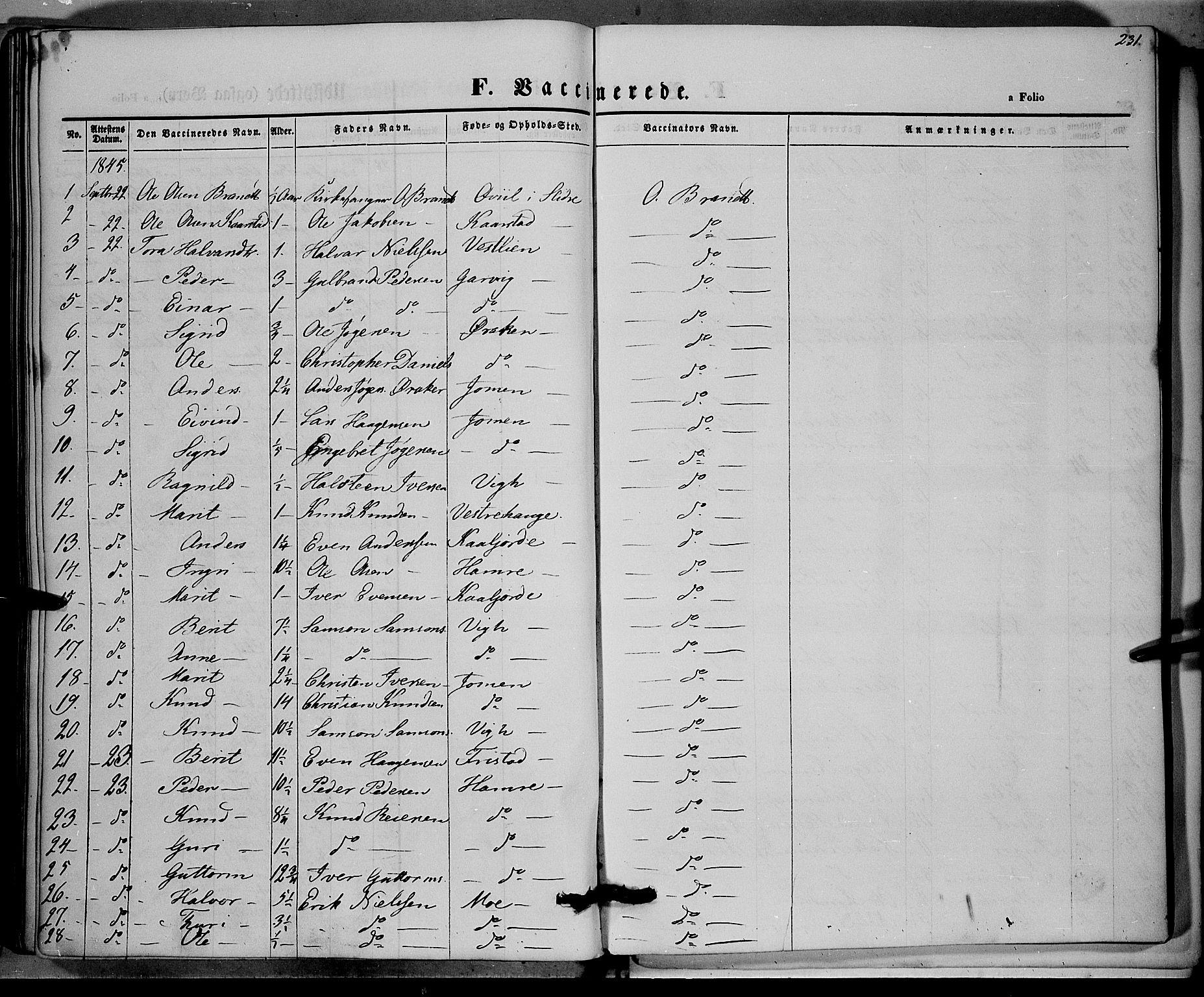 SAH, Vestre Slidre prestekontor, Ministerialbok nr. 1, 1844-1855, s. 231
