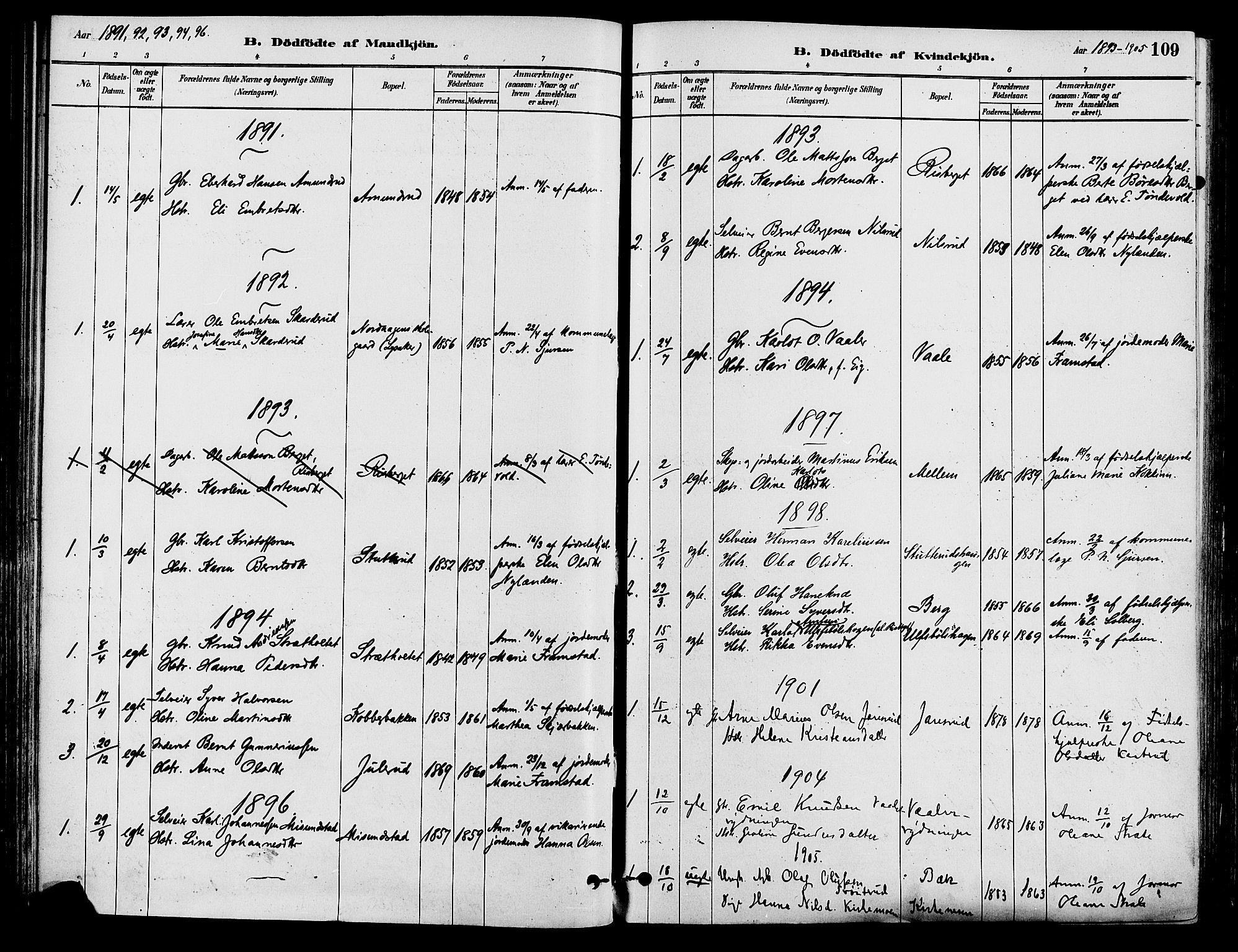 SAH, Våler prestekontor, Ministerialbok nr. 3, 1879-1911, s. 109