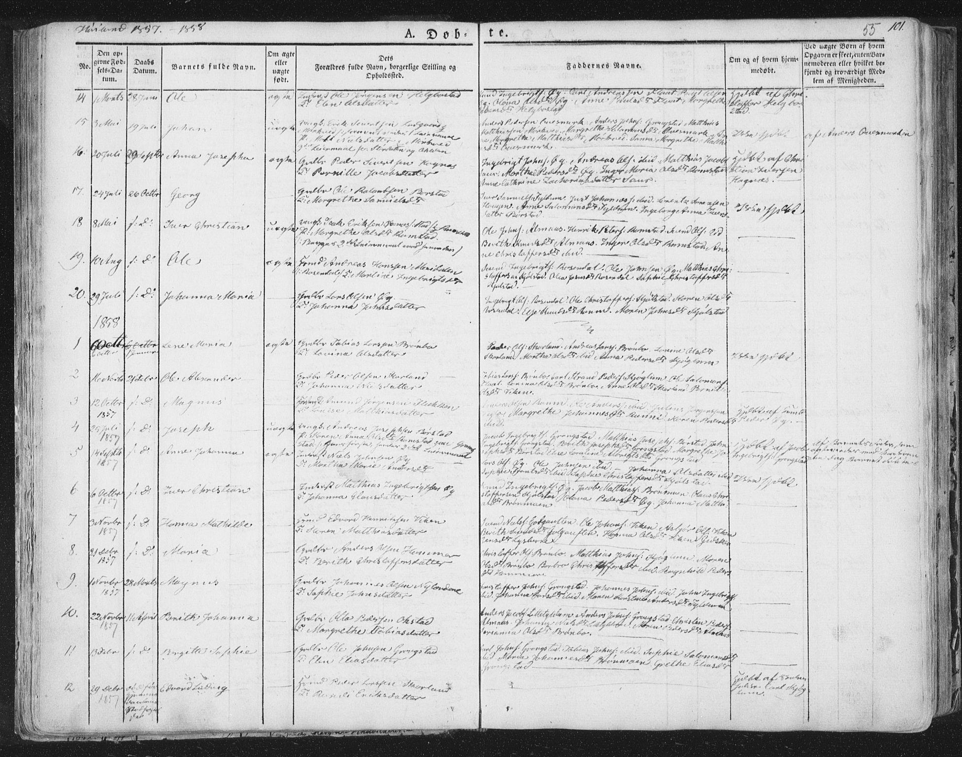 SAT, Ministerialprotokoller, klokkerbøker og fødselsregistre - Nord-Trøndelag, 758/L0513: Ministerialbok nr. 758A02 /2, 1839-1868, s. 55