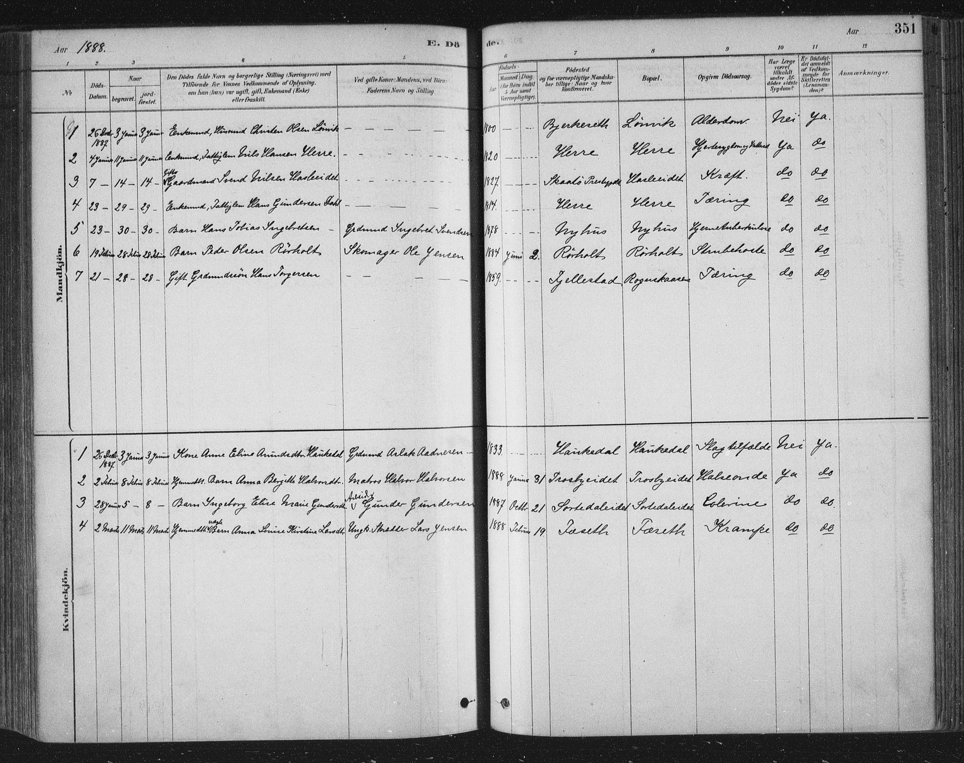 SAKO, Bamble kirkebøker, F/Fa/L0007: Ministerialbok nr. I 7, 1878-1888, s. 351