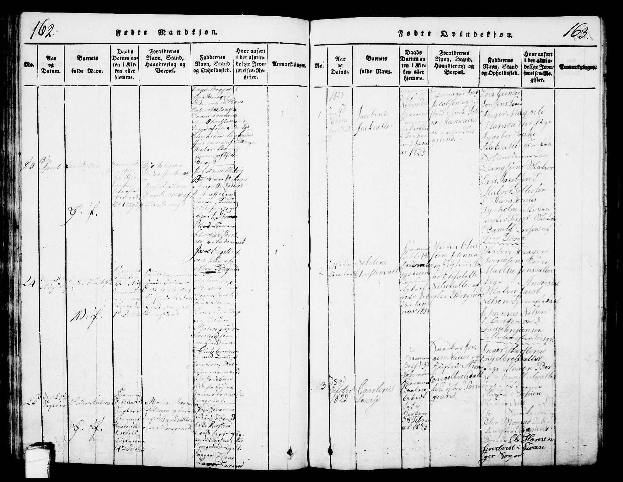 SAKO, Porsgrunn kirkebøker , G/Gb/L0001: Klokkerbok nr. II 1, 1817-1828, s. 162-163