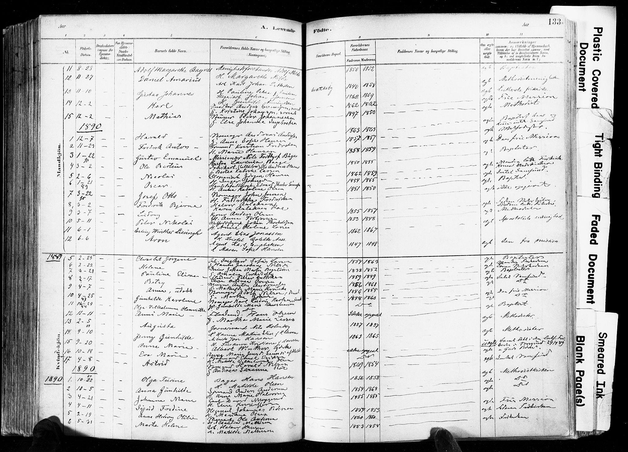 SAKO, Skien kirkebøker, F/Fa/L0009: Ministerialbok nr. 9, 1878-1890, s. 133