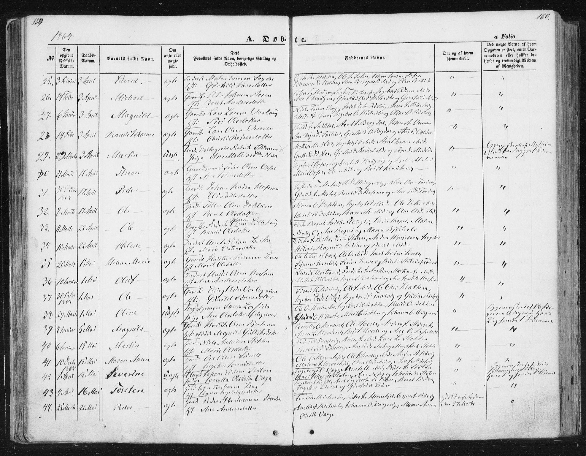 SAT, Ministerialprotokoller, klokkerbøker og fødselsregistre - Sør-Trøndelag, 630/L0494: Ministerialbok nr. 630A07, 1852-1868, s. 159-160