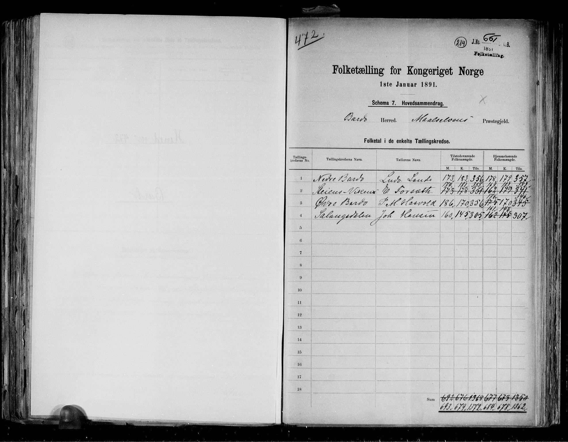 RA, Folketelling 1891 for 1922 Bardu herred, 1891, s. 2