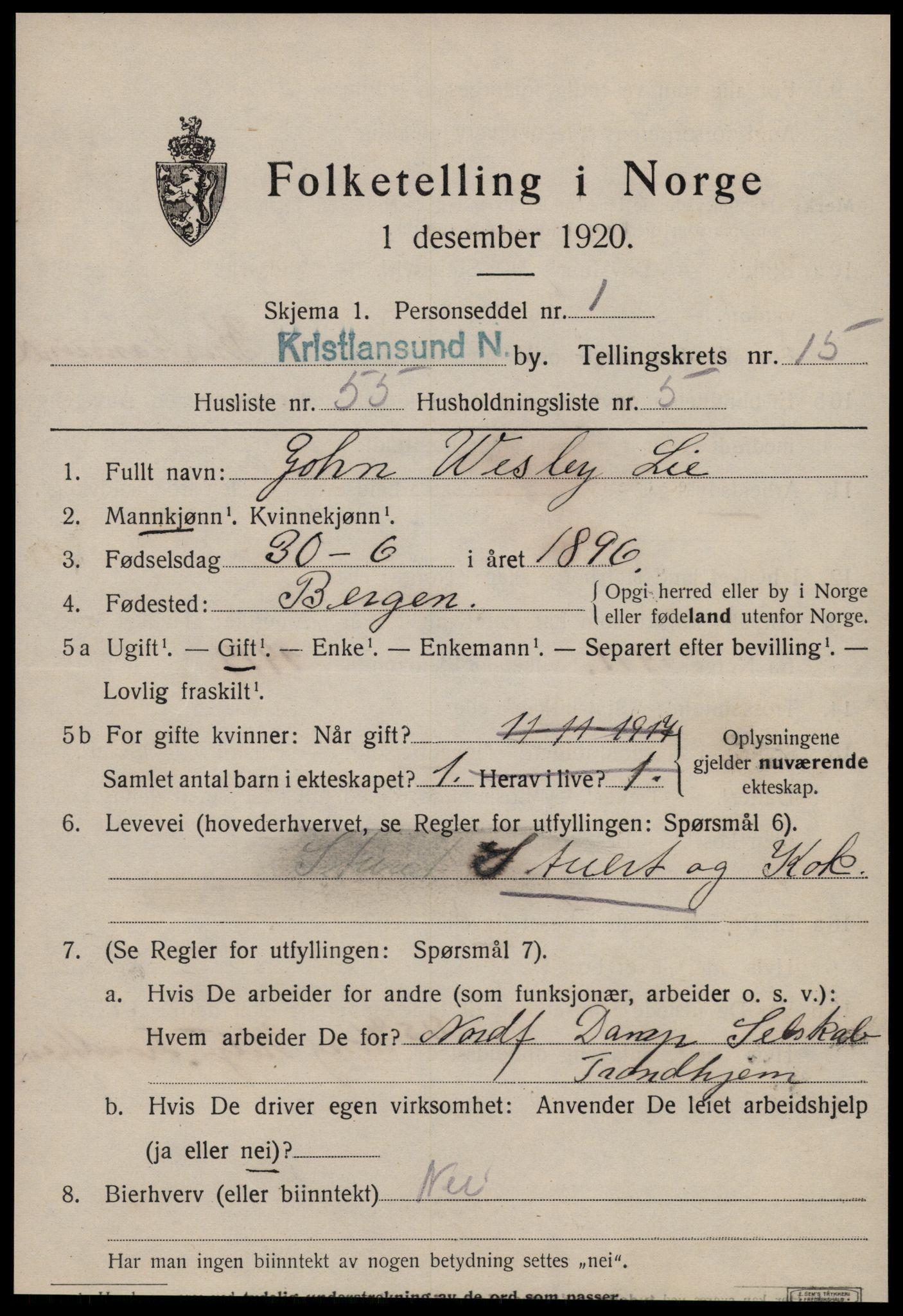 SAT, Folketelling 1920 for 1503 Kristiansund kjøpstad, 1920, s. 31961
