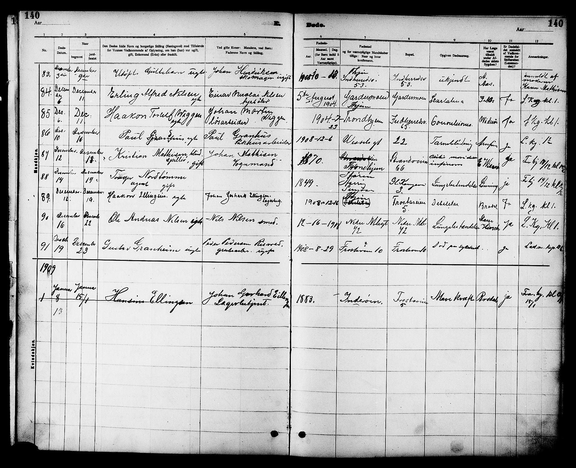 SAT, Ministerialprotokoller, klokkerbøker og fødselsregistre - Sør-Trøndelag, 605/L0255: Klokkerbok nr. 605C02, 1908-1918, s. 140