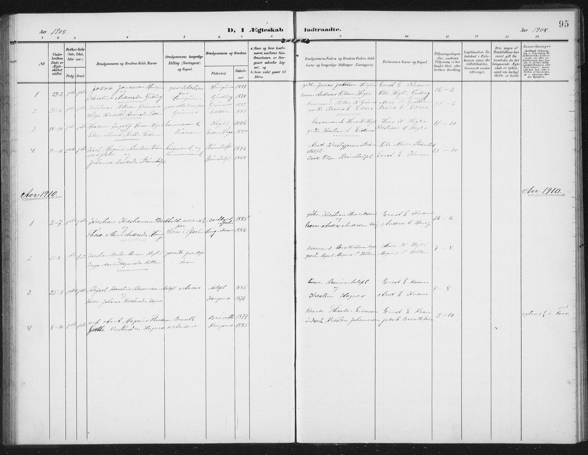 SAT, Ministerialprotokoller, klokkerbøker og fødselsregistre - Nord-Trøndelag, 747/L0460: Klokkerbok nr. 747C02, 1908-1939, s. 95