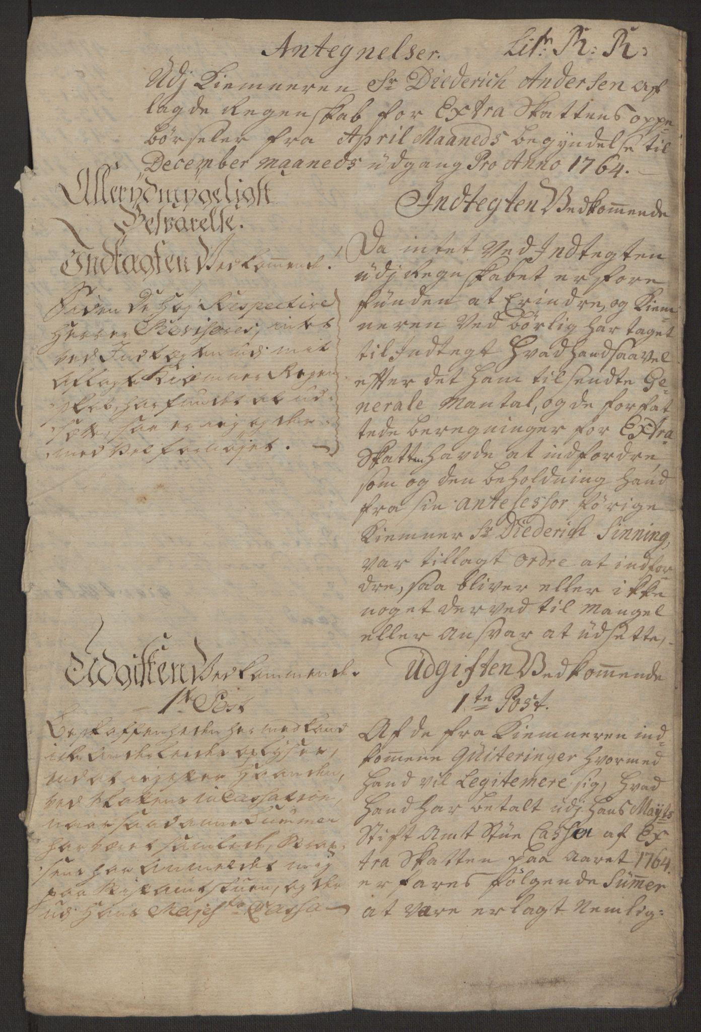 RA, Rentekammeret inntil 1814, Reviderte regnskaper, Byregnskaper, R/Rp/L0368: [P21] Kontribusjonsregnskap, 1764, s. 207