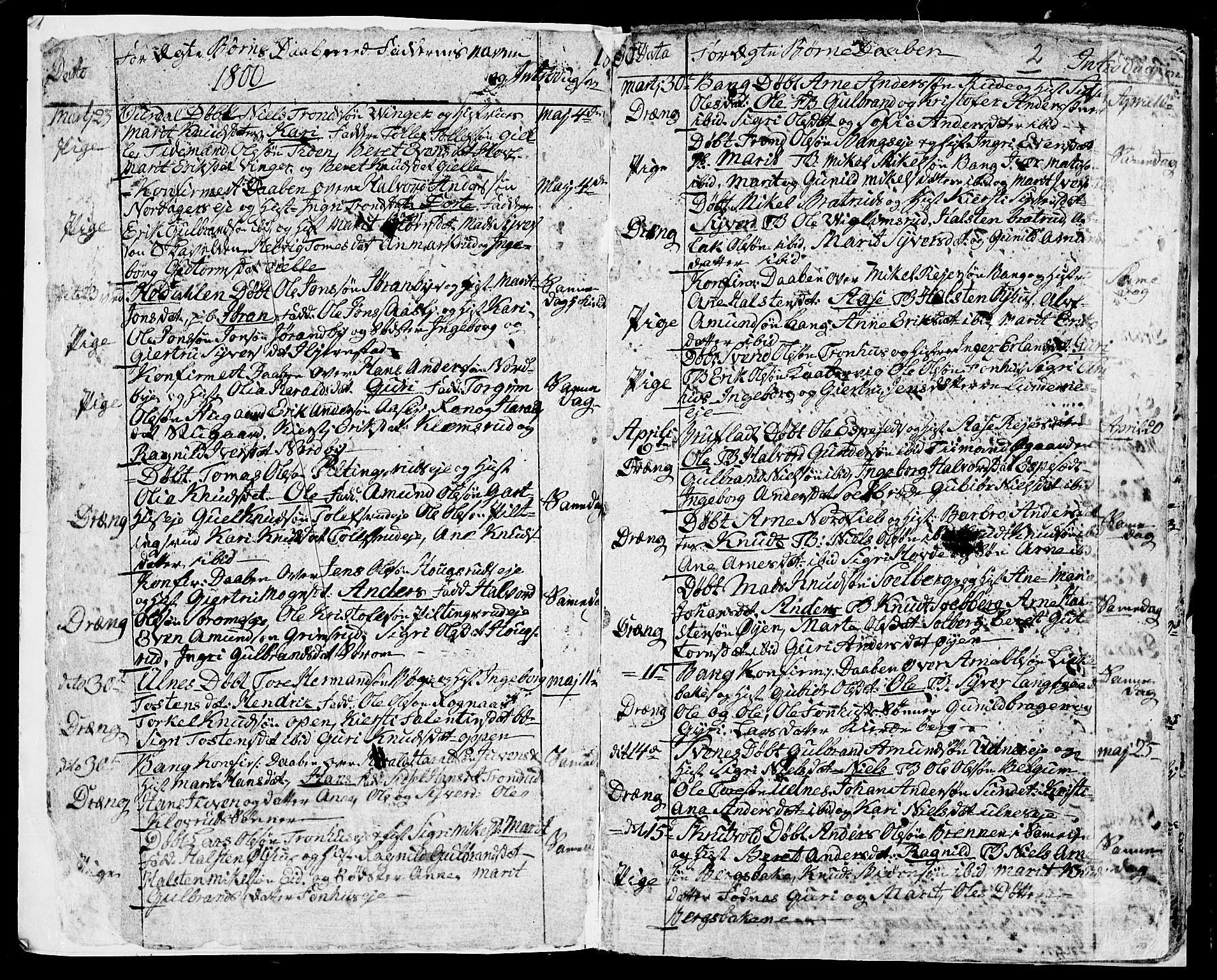 SAH, Aurdal prestekontor, Ministerialbok nr. 7, 1800-1808, s. 2