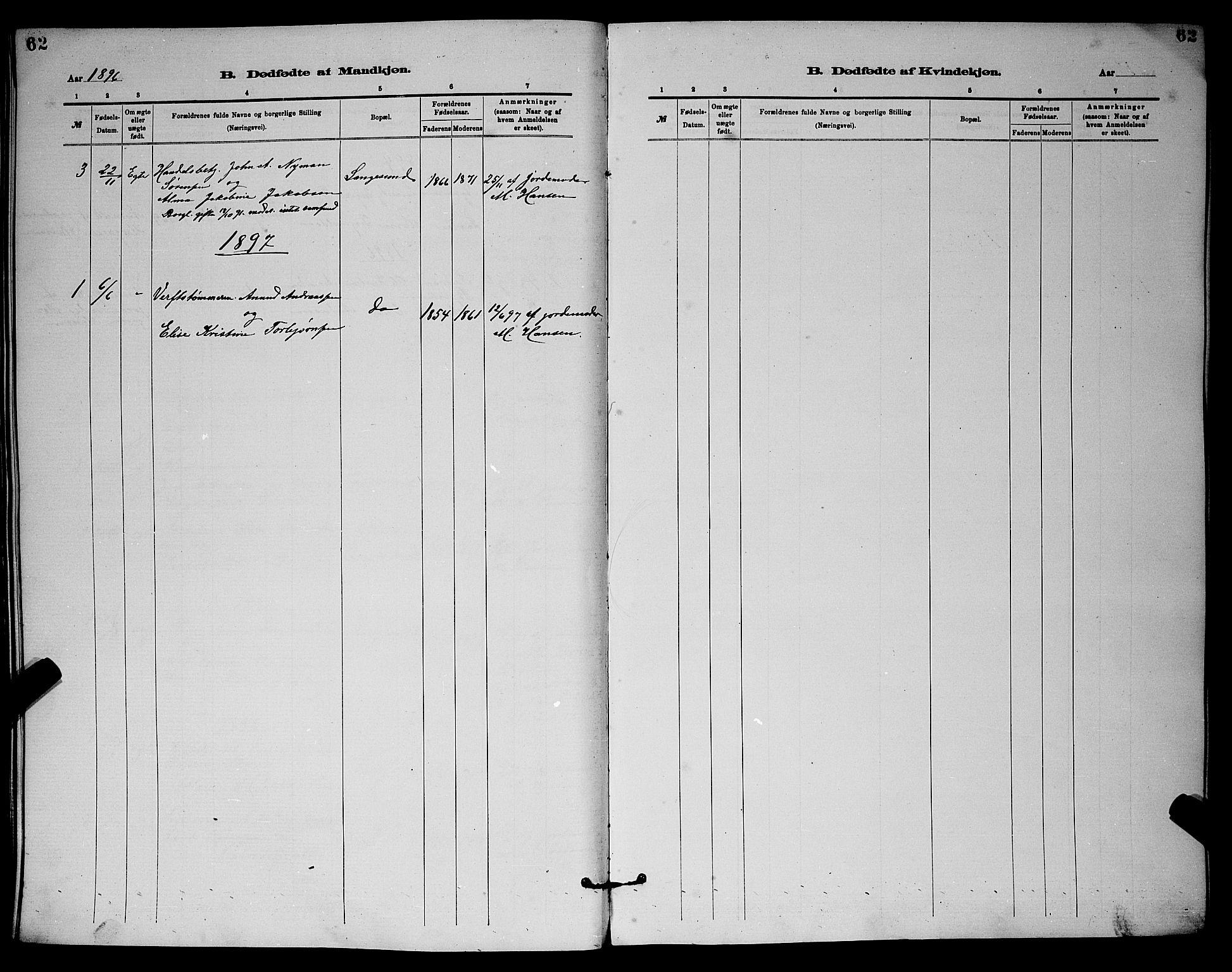 SAKO, Langesund kirkebøker, G/Ga/L0005: Klokkerbok nr. 5, 1884-1898, s. 62