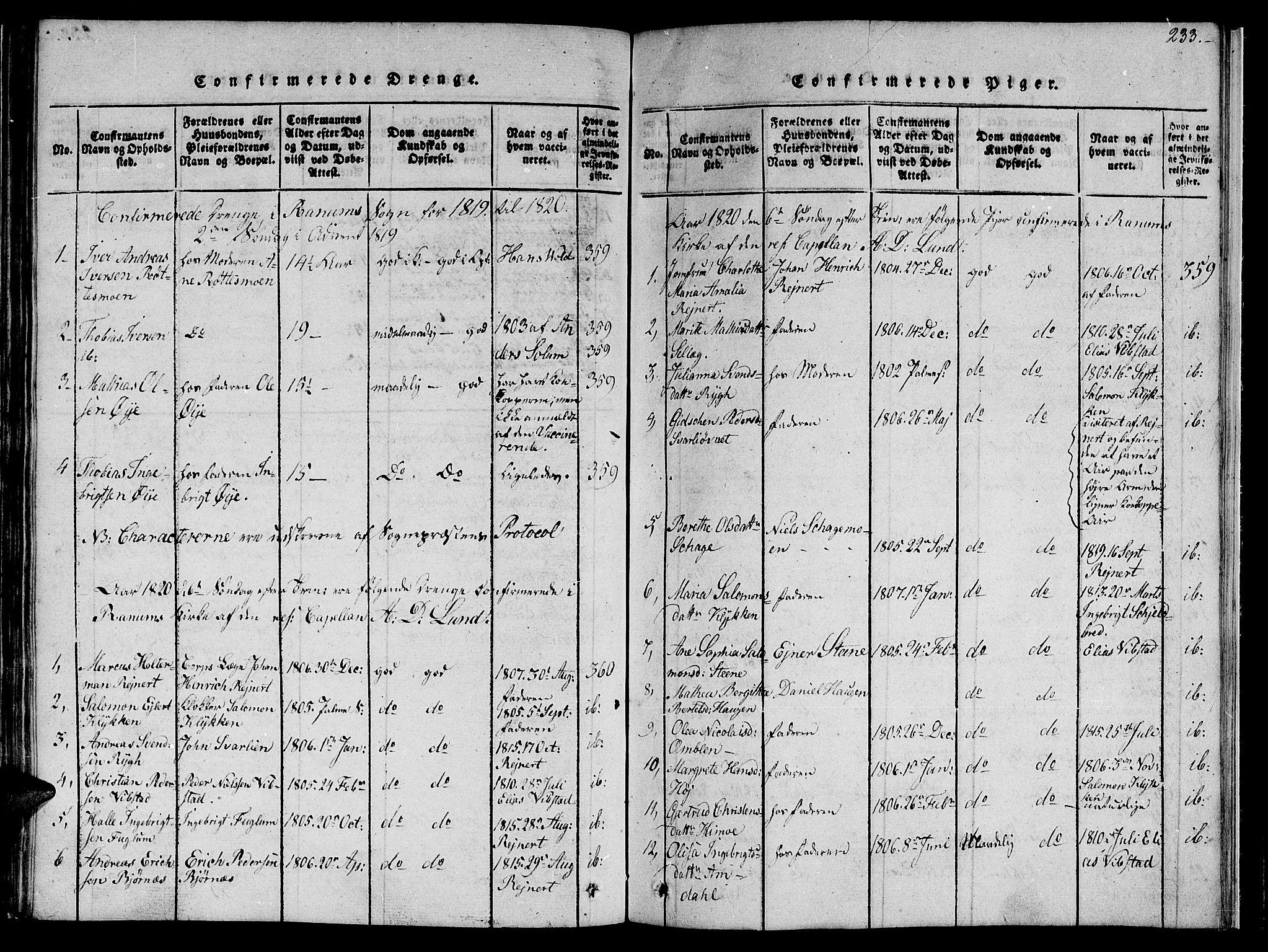 SAT, Ministerialprotokoller, klokkerbøker og fødselsregistre - Nord-Trøndelag, 764/L0559: Klokkerbok nr. 764C01, 1816-1824, s. 233