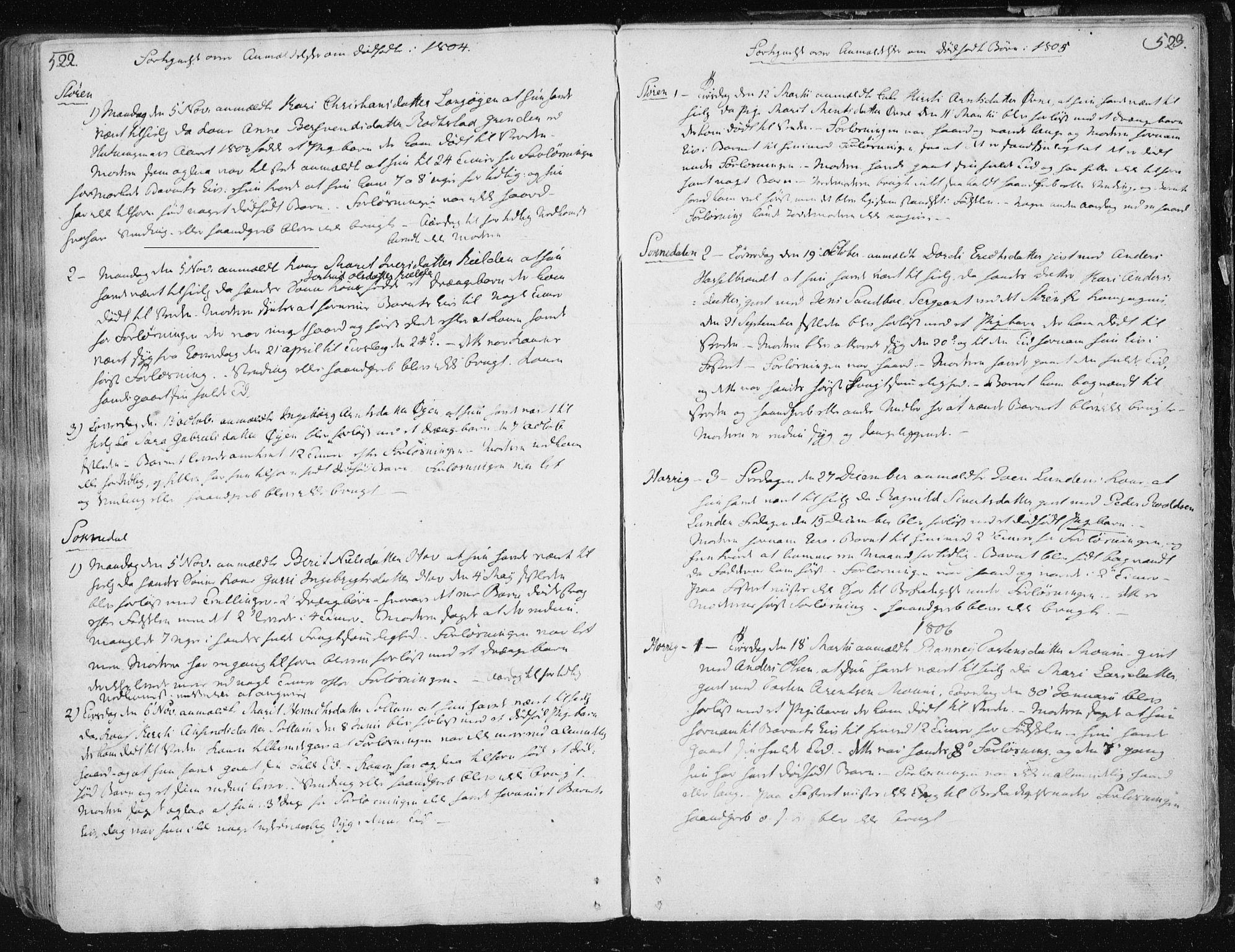 SAT, Ministerialprotokoller, klokkerbøker og fødselsregistre - Sør-Trøndelag, 687/L0992: Ministerialbok nr. 687A03 /1, 1788-1815, s. 522-523