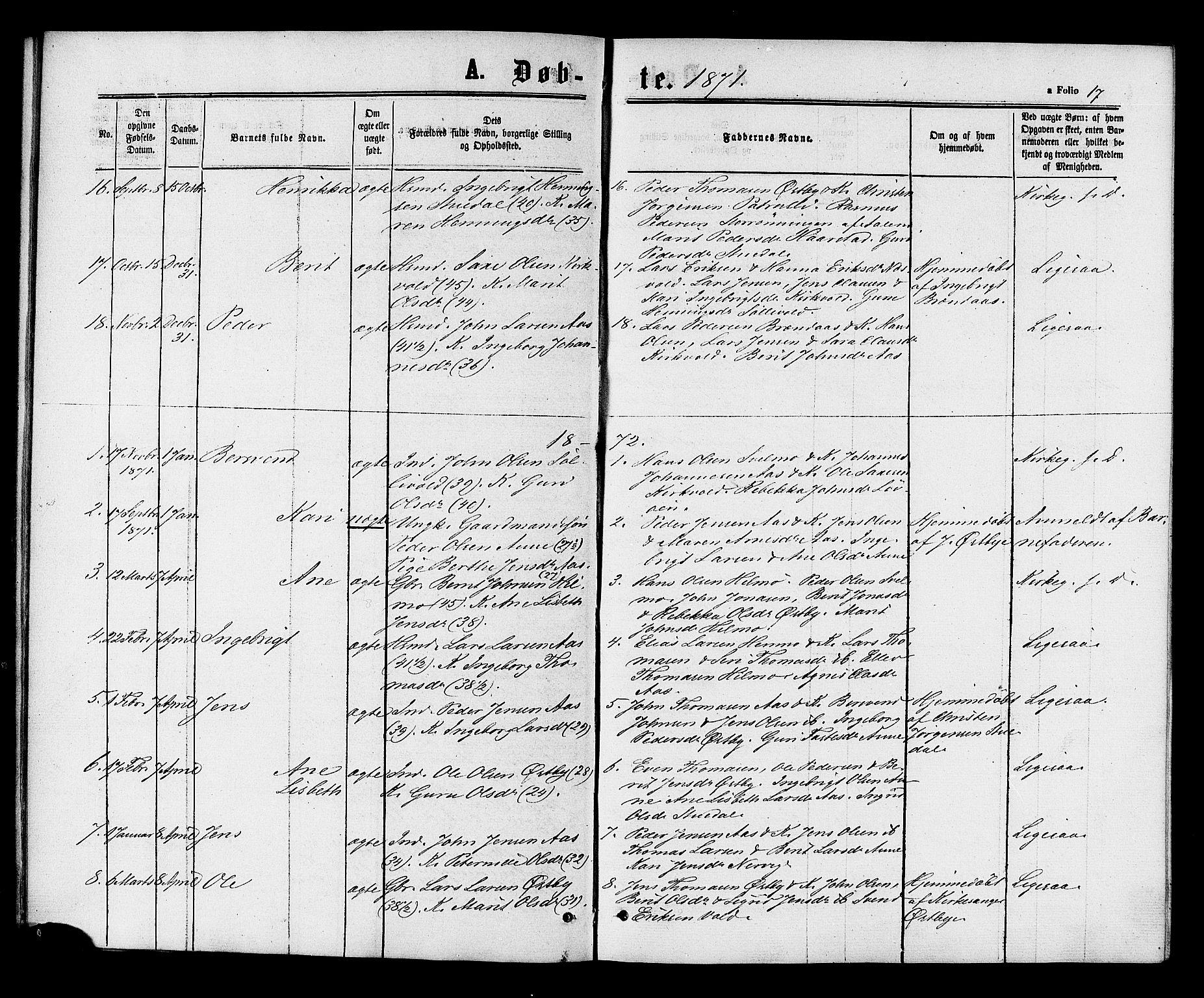 SAT, Ministerialprotokoller, klokkerbøker og fødselsregistre - Sør-Trøndelag, 698/L1163: Ministerialbok nr. 698A01, 1862-1887, s. 17