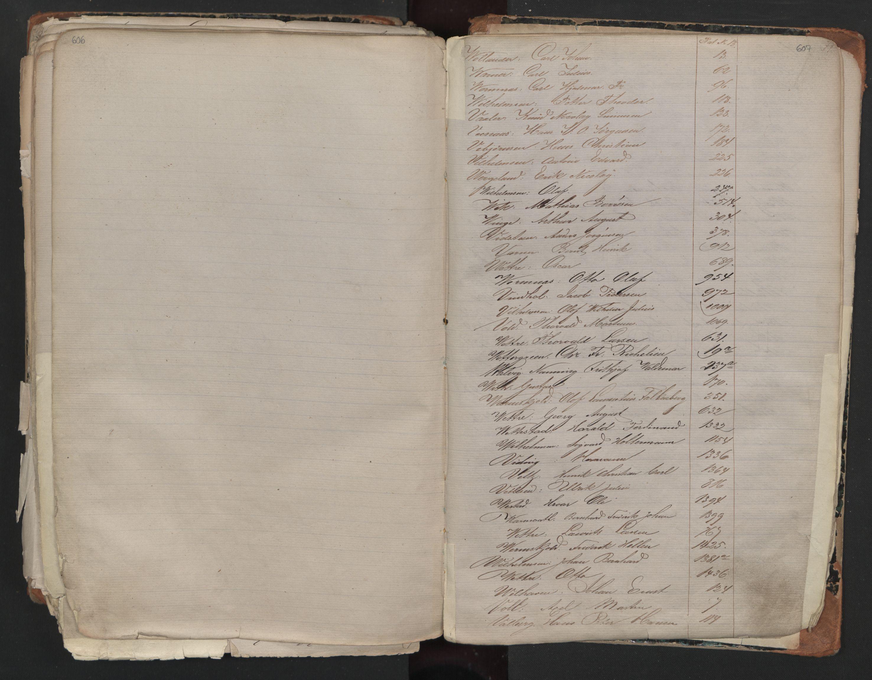 SAO, Oslo sjømannskontor, F/Fa/L0001: Register for Kristiania krets, 1866-1891, s. 606-607
