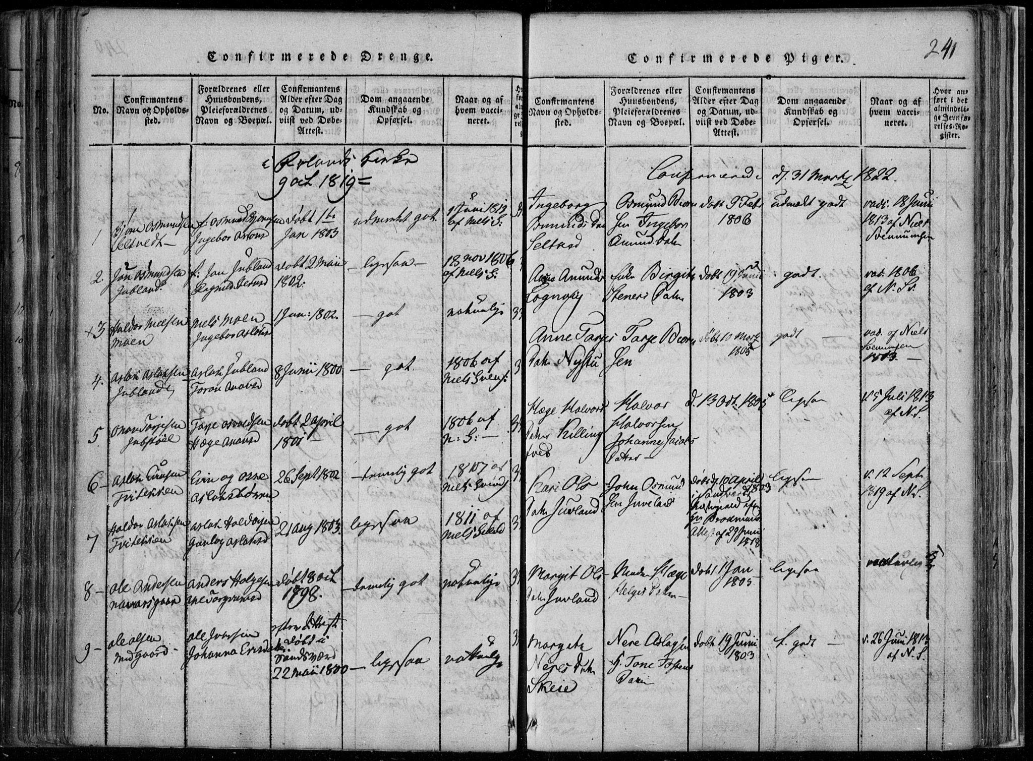 SAKO, Rauland kirkebøker, F/Fa/L0001: Ministerialbok nr. 1, 1814-1859, s. 241