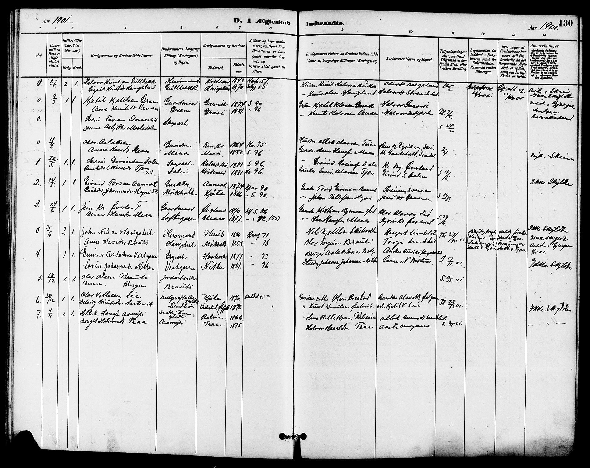 SAKO, Seljord kirkebøker, G/Ga/L0005: Klokkerbok nr. I 5, 1887-1914, s. 130