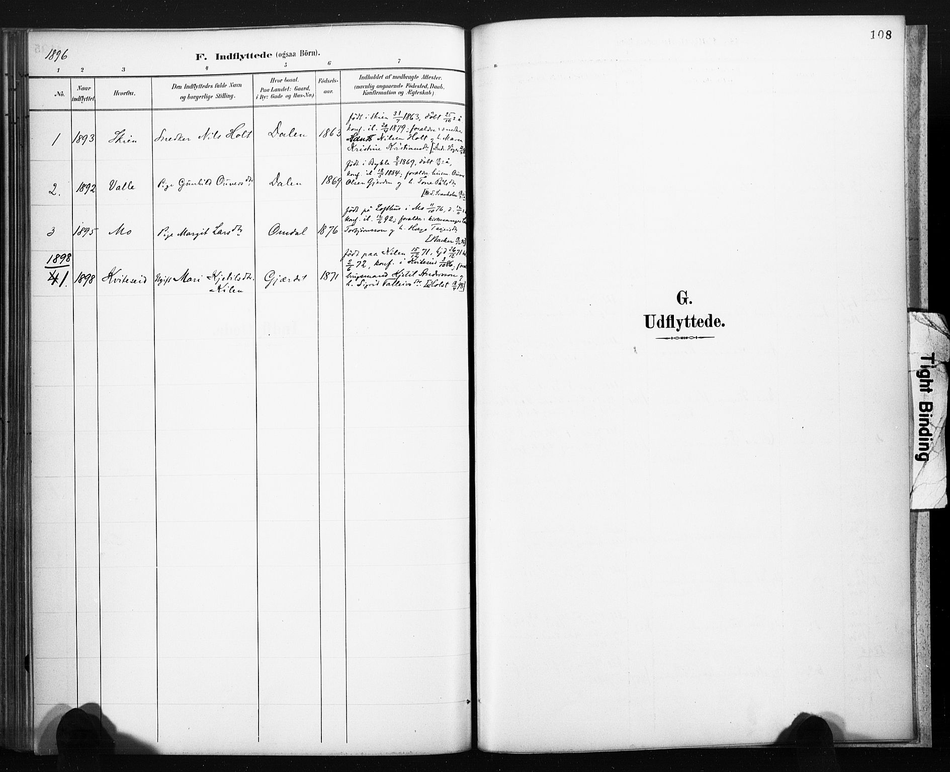 SAKO, Lårdal kirkebøker, F/Fb/L0002: Ministerialbok nr. II 2, 1887-1918, s. 108