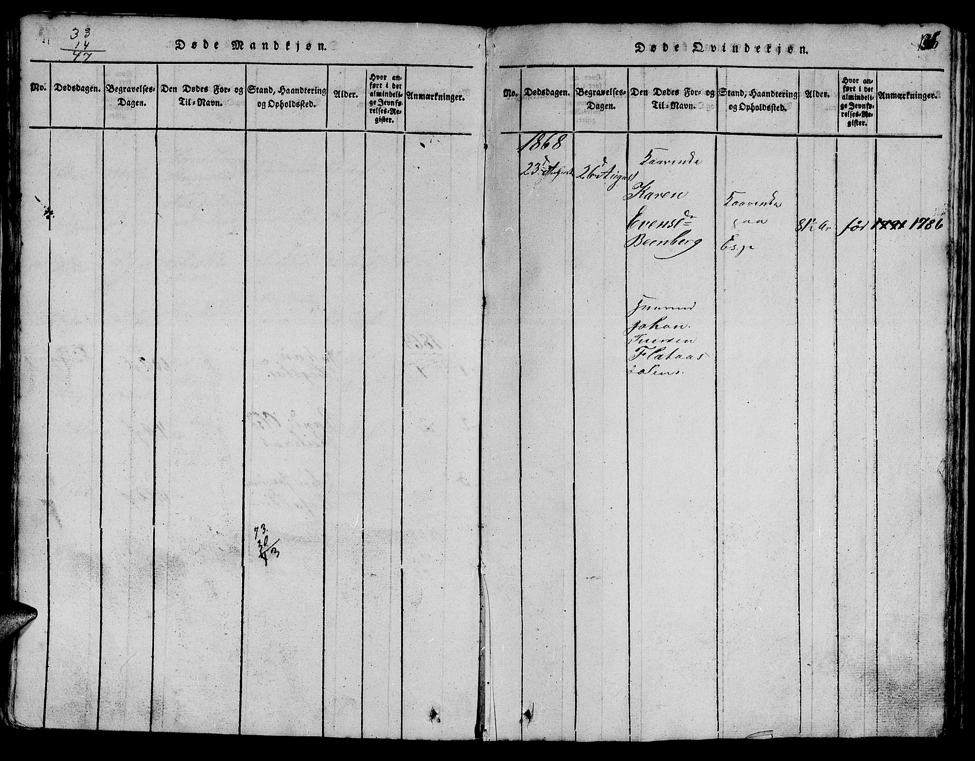 SAT, Ministerialprotokoller, klokkerbøker og fødselsregistre - Sør-Trøndelag, 613/L0393: Klokkerbok nr. 613C01, 1816-1886, s. 136