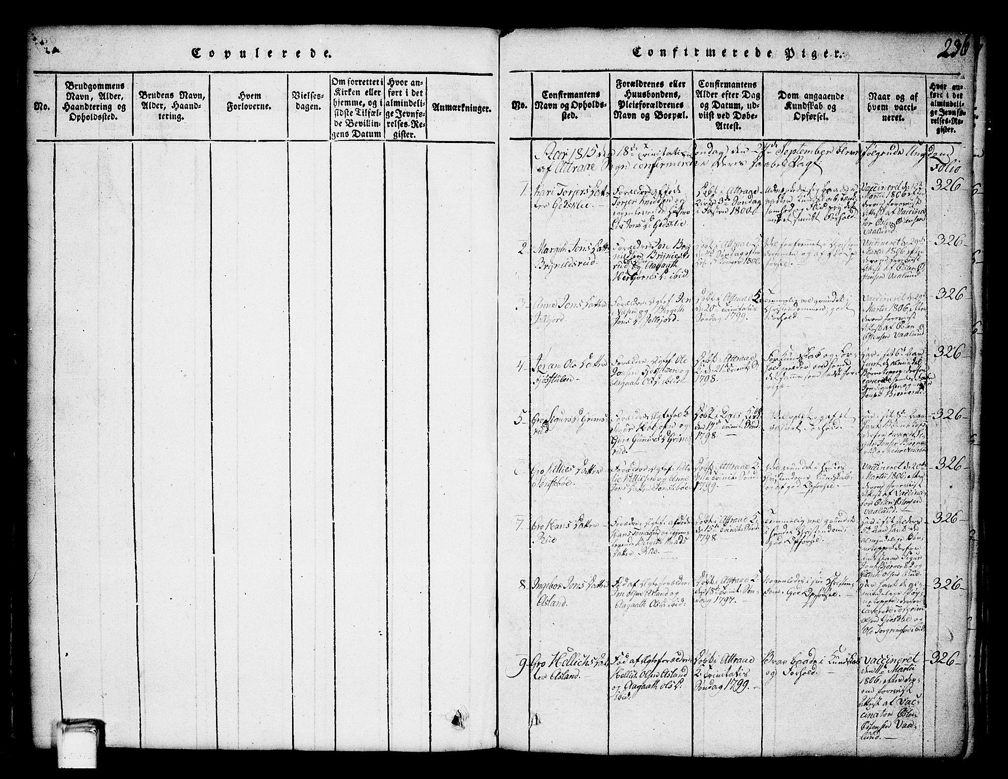 SAKO, Tinn kirkebøker, G/Ga/L0001: Klokkerbok nr. I 1, 1815-1850, s. 236