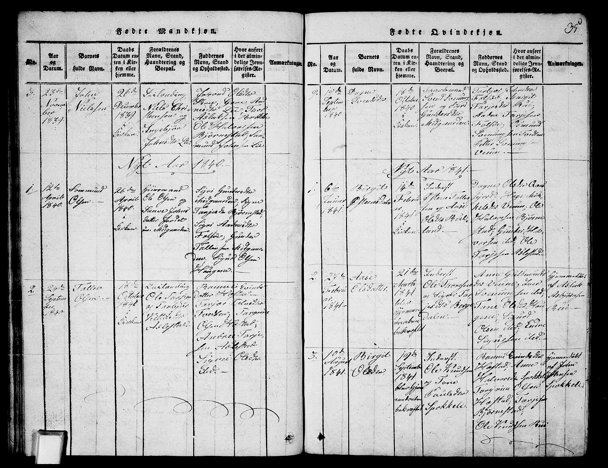 SAKO, Fyresdal kirkebøker, G/Ga/L0003: Klokkerbok nr. I 3, 1815-1863, s. 35