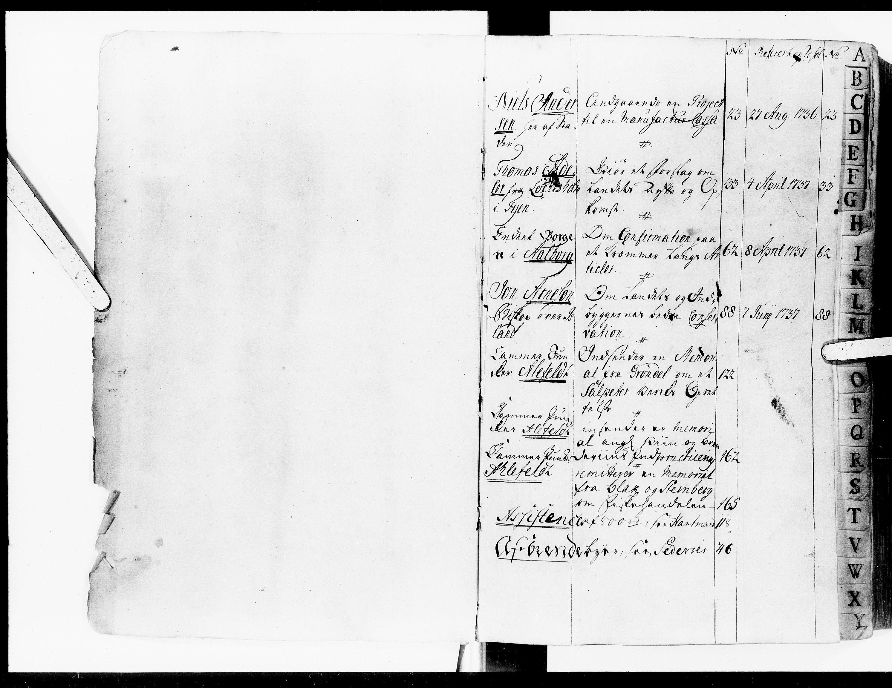 DRA, Kommercekollegiet, Dansk-Norske Sekretariat, -/37: Projekt Protokol A, 1736-1740