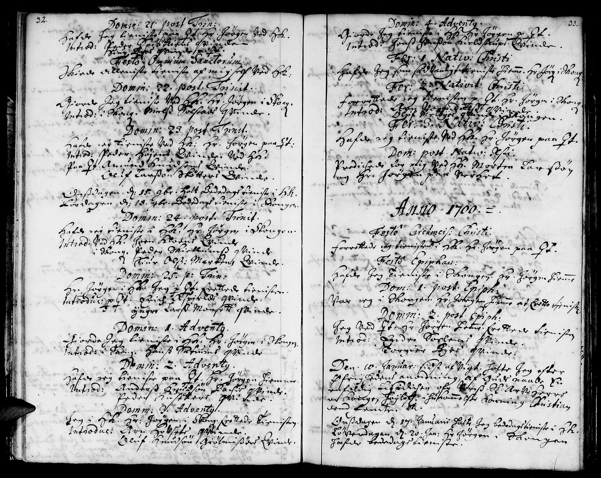 SAT, Ministerialprotokoller, klokkerbøker og fødselsregistre - Sør-Trøndelag, 668/L0801: Ministerialbok nr. 668A01, 1695-1716, s. 32-33
