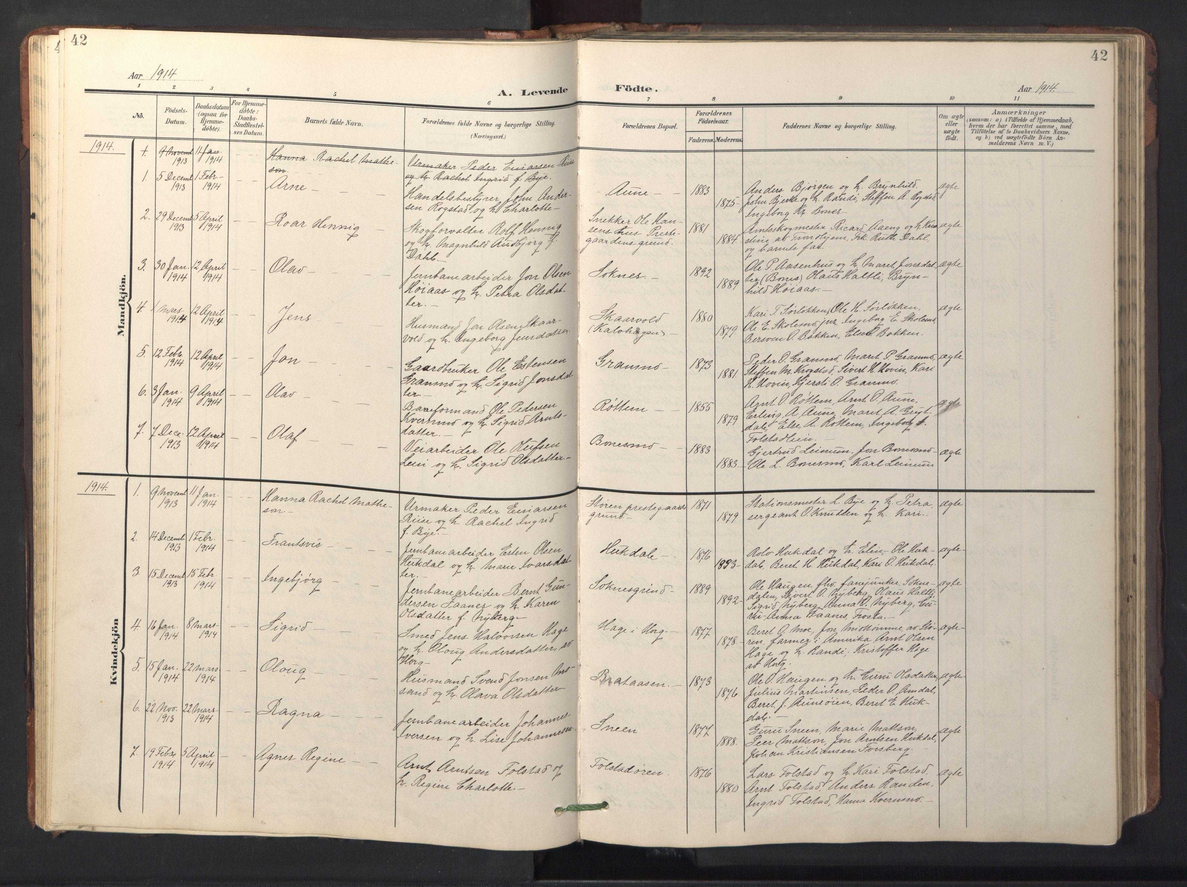 SAT, Ministerialprotokoller, klokkerbøker og fødselsregistre - Sør-Trøndelag, 687/L1019: Klokkerbok nr. 687C03, 1904-1931, s. 42