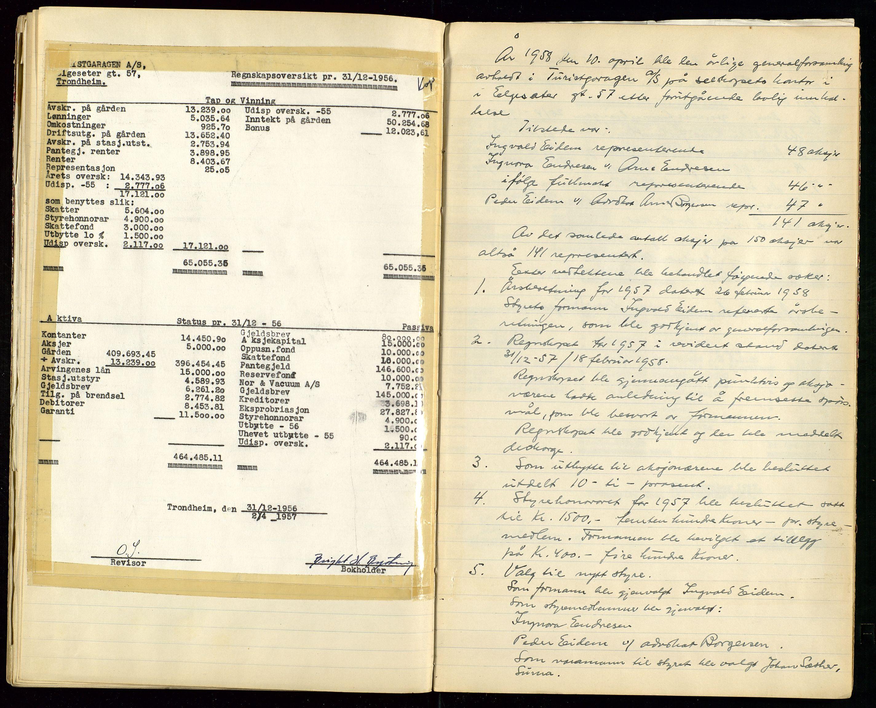 SAST, PA 1515 - Turistgarasjen A/S, A/L0001: Forhandlingsprotokoll, 1937-1958, s. 45