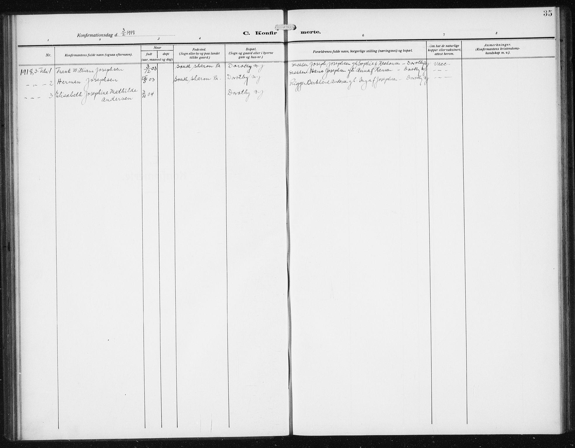 SAB, Privatarkiv 113 - Den norske sjømannsmisjon i utlandet/Philadelphia, H/Ha/L0001: Ministerialbok nr. A 1, 1912-1931, s. 35