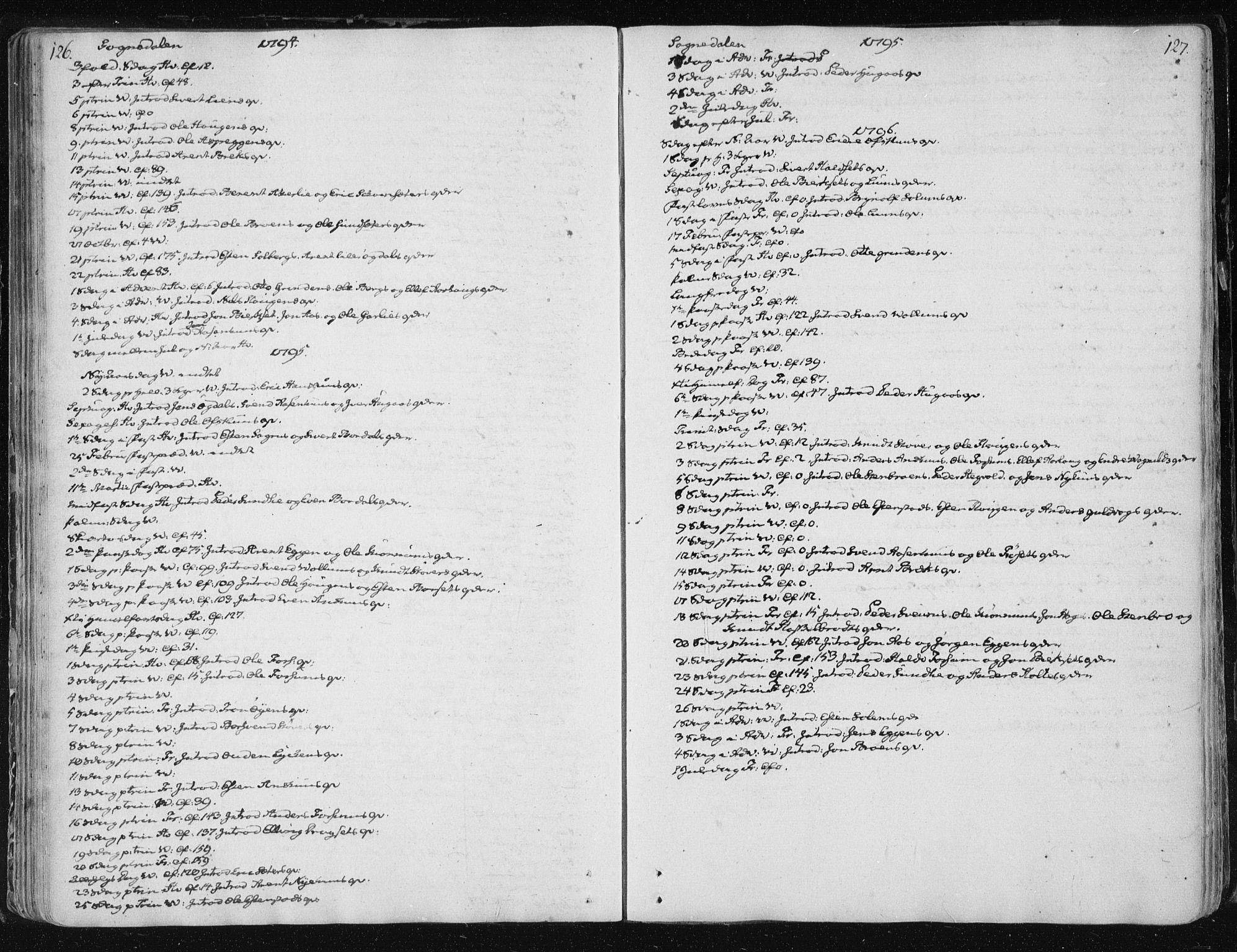 SAT, Ministerialprotokoller, klokkerbøker og fødselsregistre - Sør-Trøndelag, 687/L0994: Ministerialbok nr. 687A03 /3, 1788-1815, s. 126-127