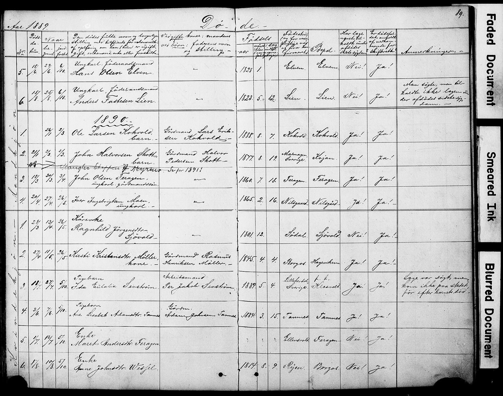 SAT, Ministerialprotokoller, klokkerbøker og fødselsregistre - Sør-Trøndelag, 683/L0949: Klokkerbok nr. 683C01, 1880-1896, s. 89