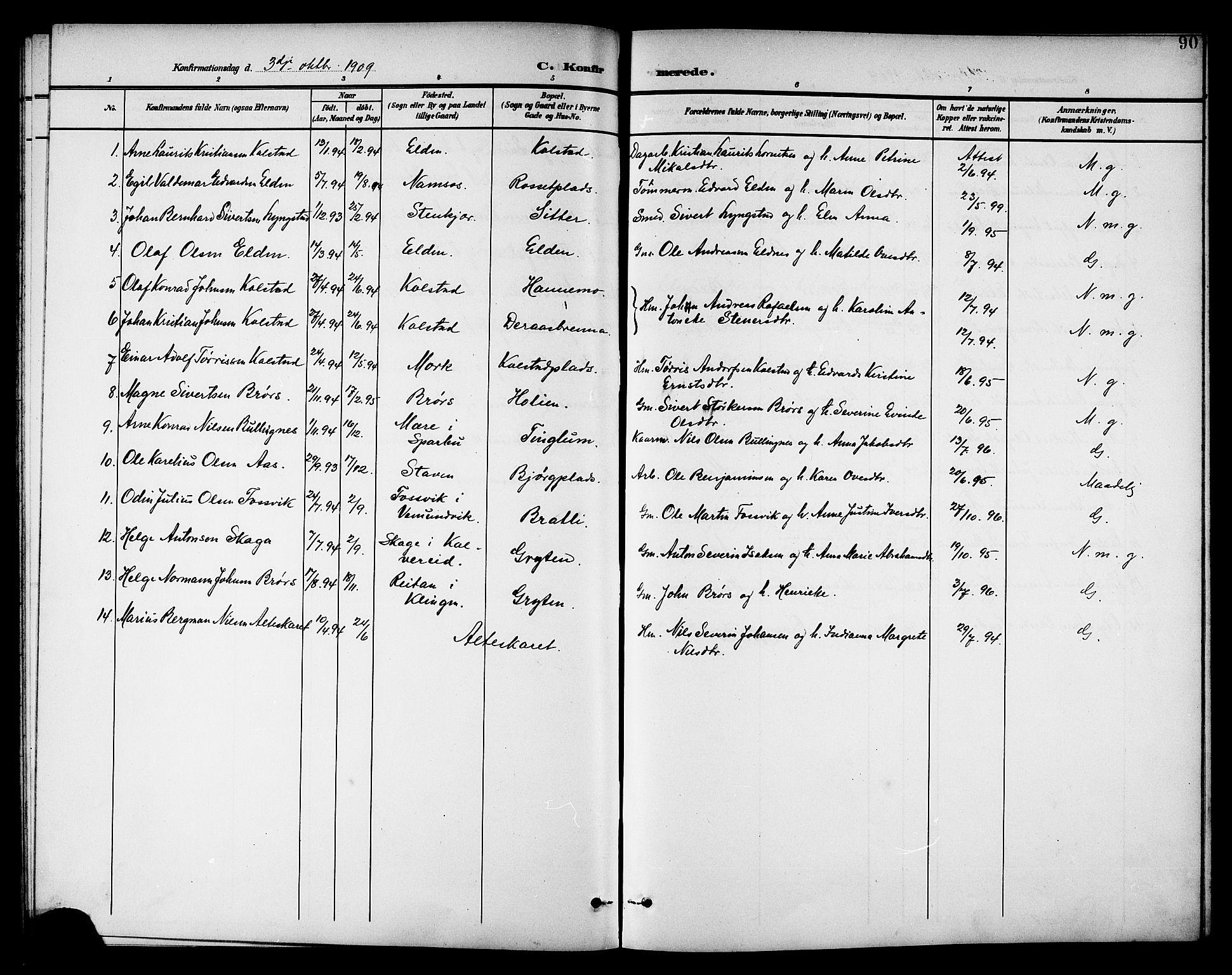 SAT, Ministerialprotokoller, klokkerbøker og fødselsregistre - Nord-Trøndelag, 742/L0412: Klokkerbok nr. 742C03, 1898-1910, s. 90