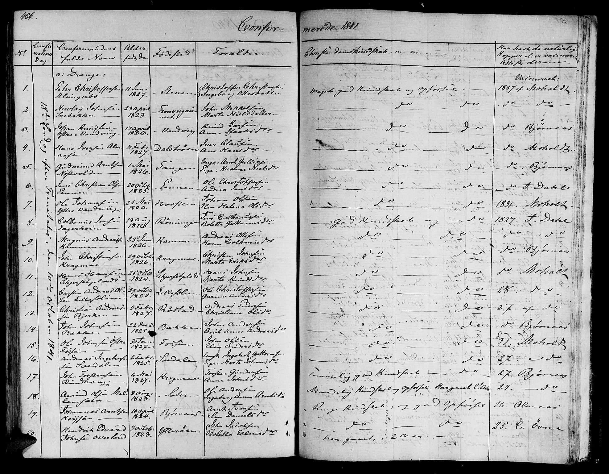 SAT, Ministerialprotokoller, klokkerbøker og fødselsregistre - Nord-Trøndelag, 701/L0006: Ministerialbok nr. 701A06, 1825-1841, s. 456