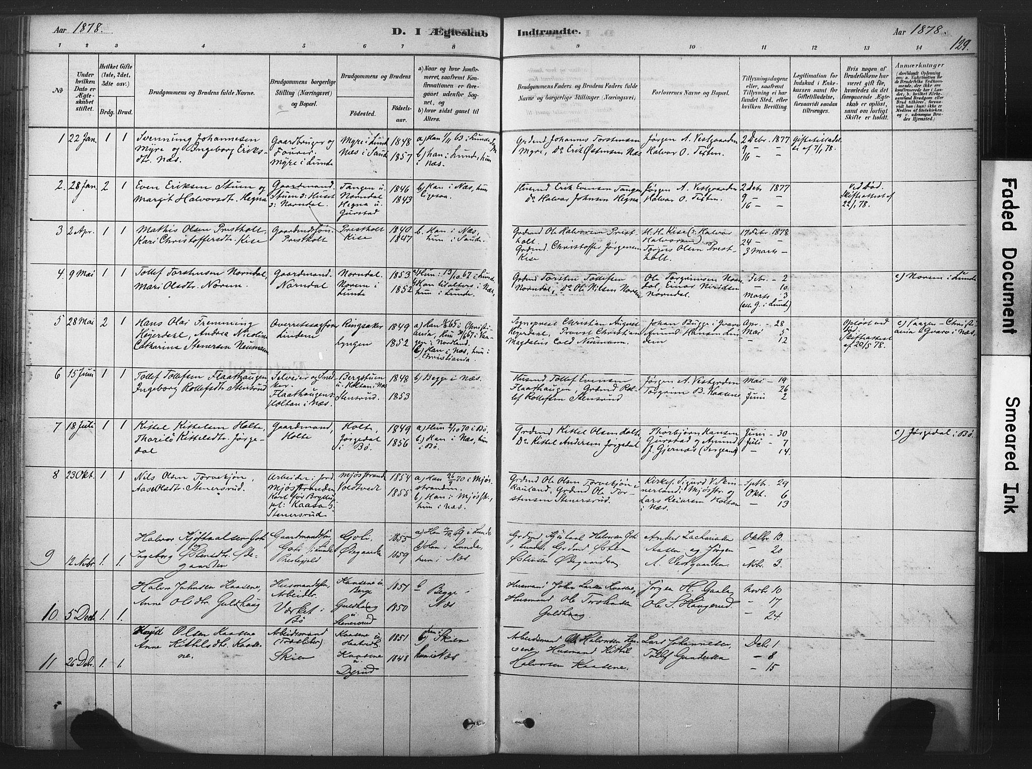 SAKO, Sauherad kirkebøker, F/Fb/L0002: Ministerialbok nr. II 2, 1878-1901, s. 129