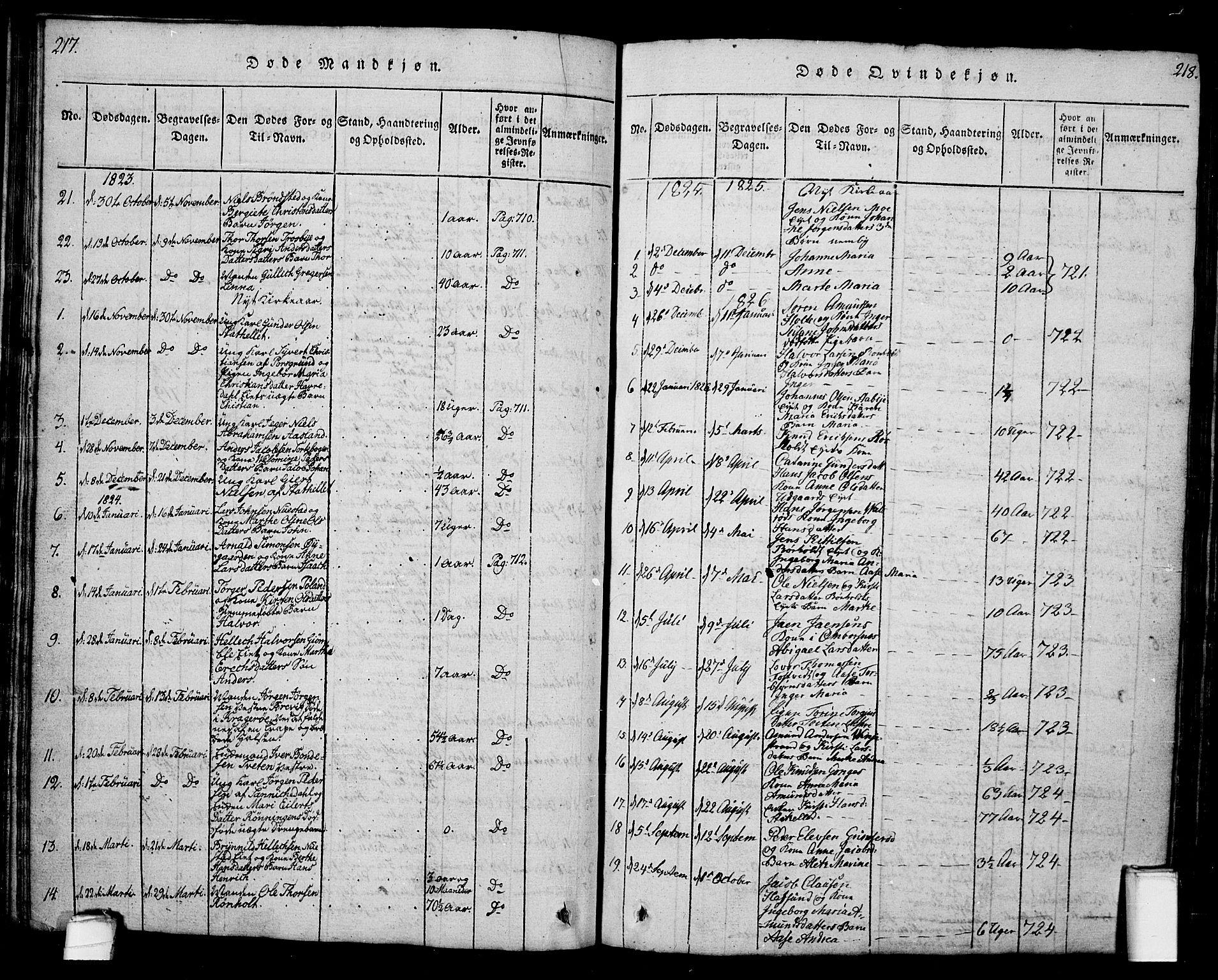 SAKO, Bamble kirkebøker, G/Ga/L0005: Klokkerbok nr. I 5, 1814-1855, s. 217-218