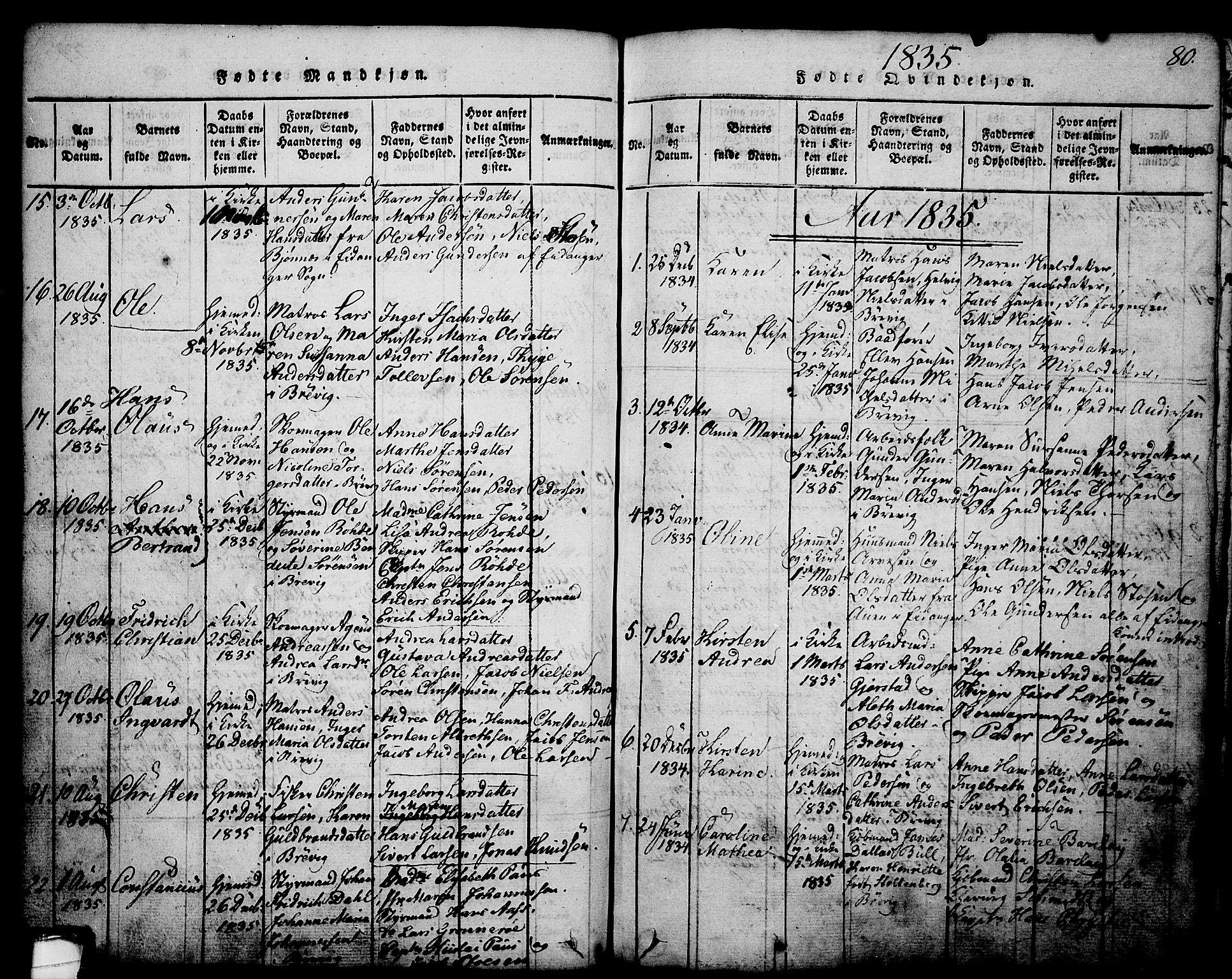 SAKO, Brevik kirkebøker, G/Ga/L0001: Klokkerbok nr. 1, 1814-1845, s. 80
