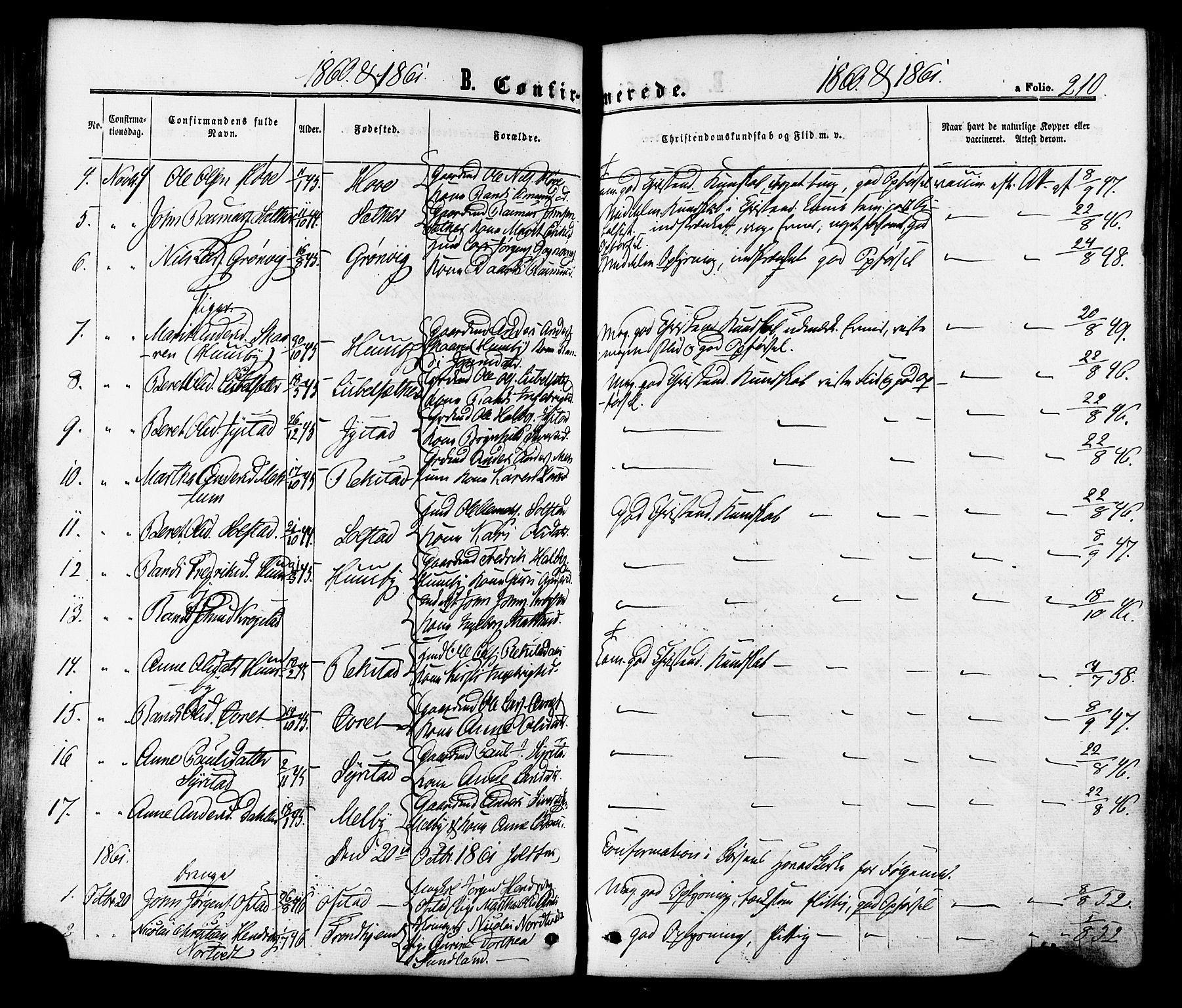SAT, Ministerialprotokoller, klokkerbøker og fødselsregistre - Sør-Trøndelag, 665/L0772: Ministerialbok nr. 665A07, 1856-1878, s. 210