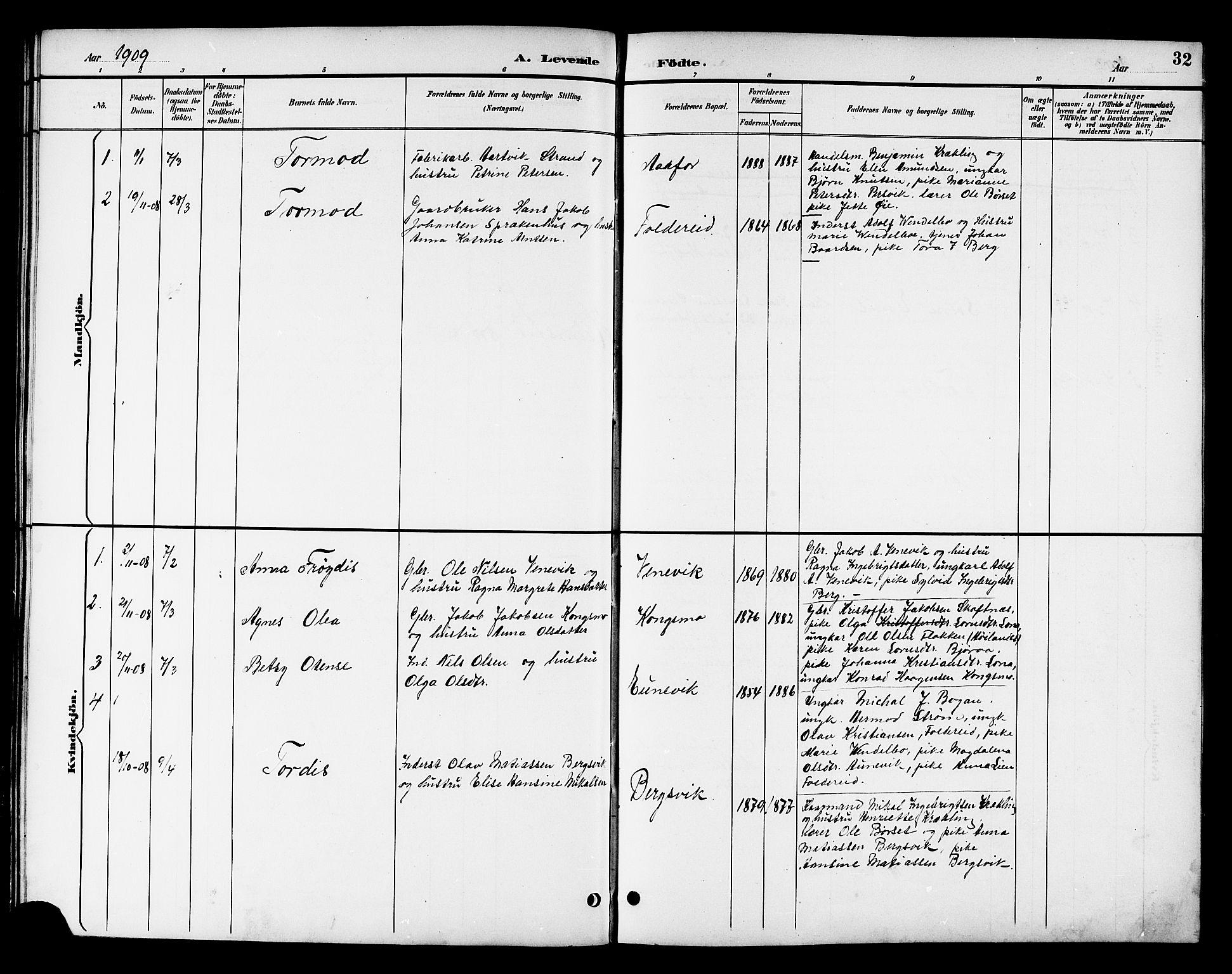 SAT, Ministerialprotokoller, klokkerbøker og fødselsregistre - Nord-Trøndelag, 783/L0662: Klokkerbok nr. 783C02, 1894-1919, s. 32