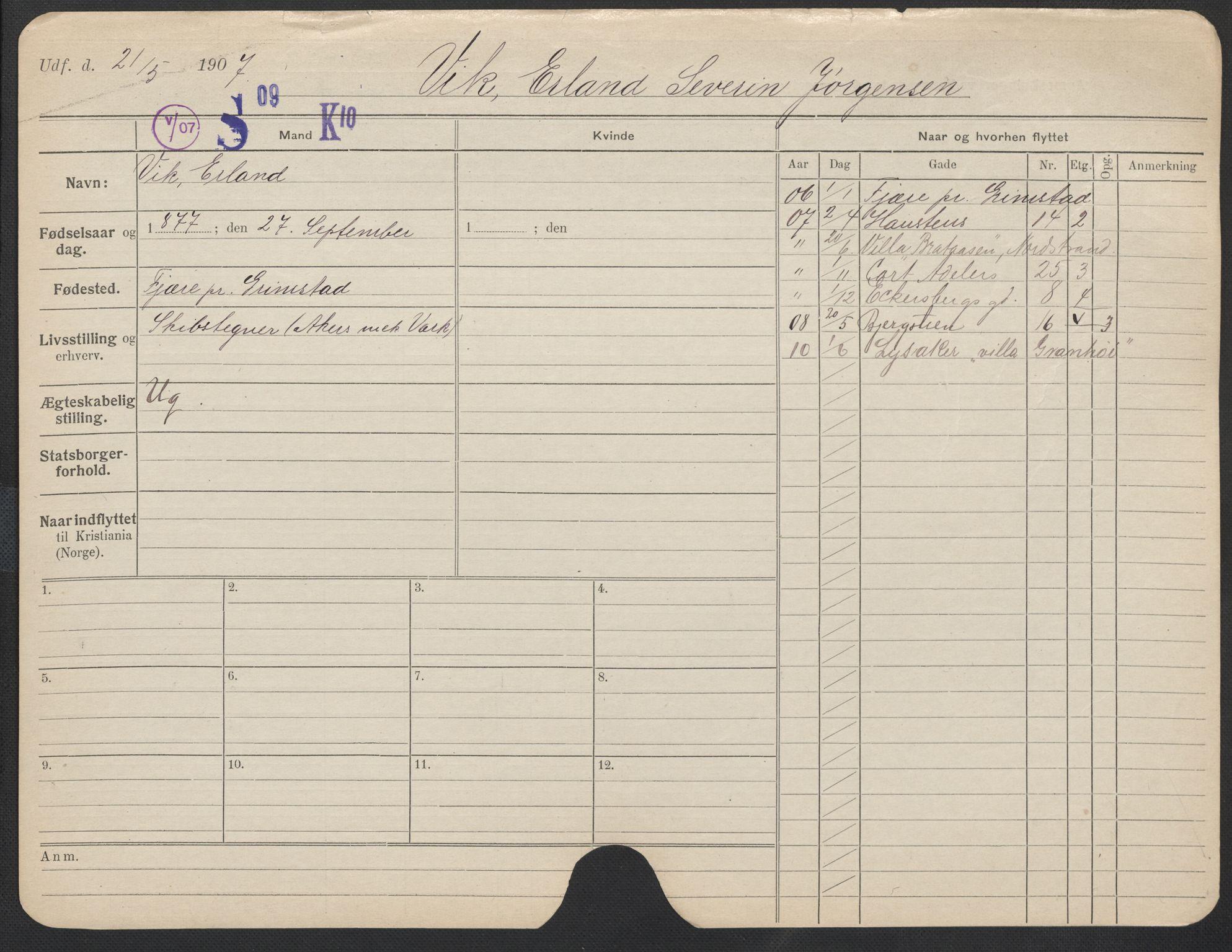 SAO, Oslo folkeregister, Registerkort, F/Fa/Fac/L0011: Menn, 1906-1914, s. 801a