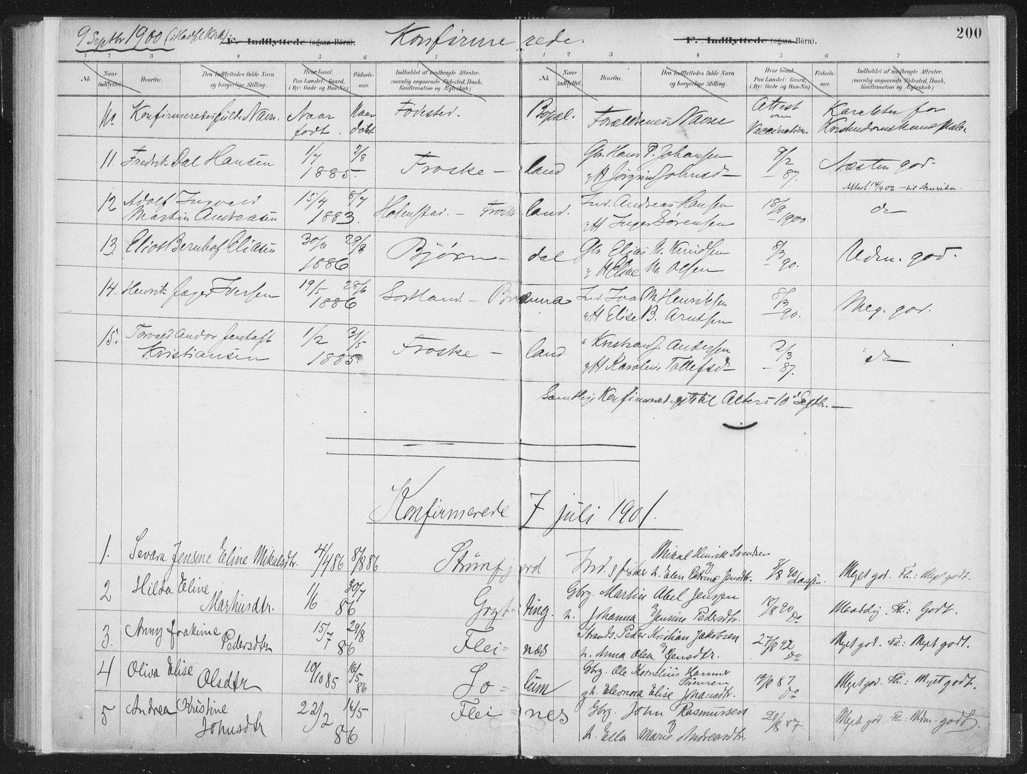 SAT, Ministerialprotokoller, klokkerbøker og fødselsregistre - Nordland, 890/L1286: Ministerialbok nr. 890A01, 1882-1902, s. 200