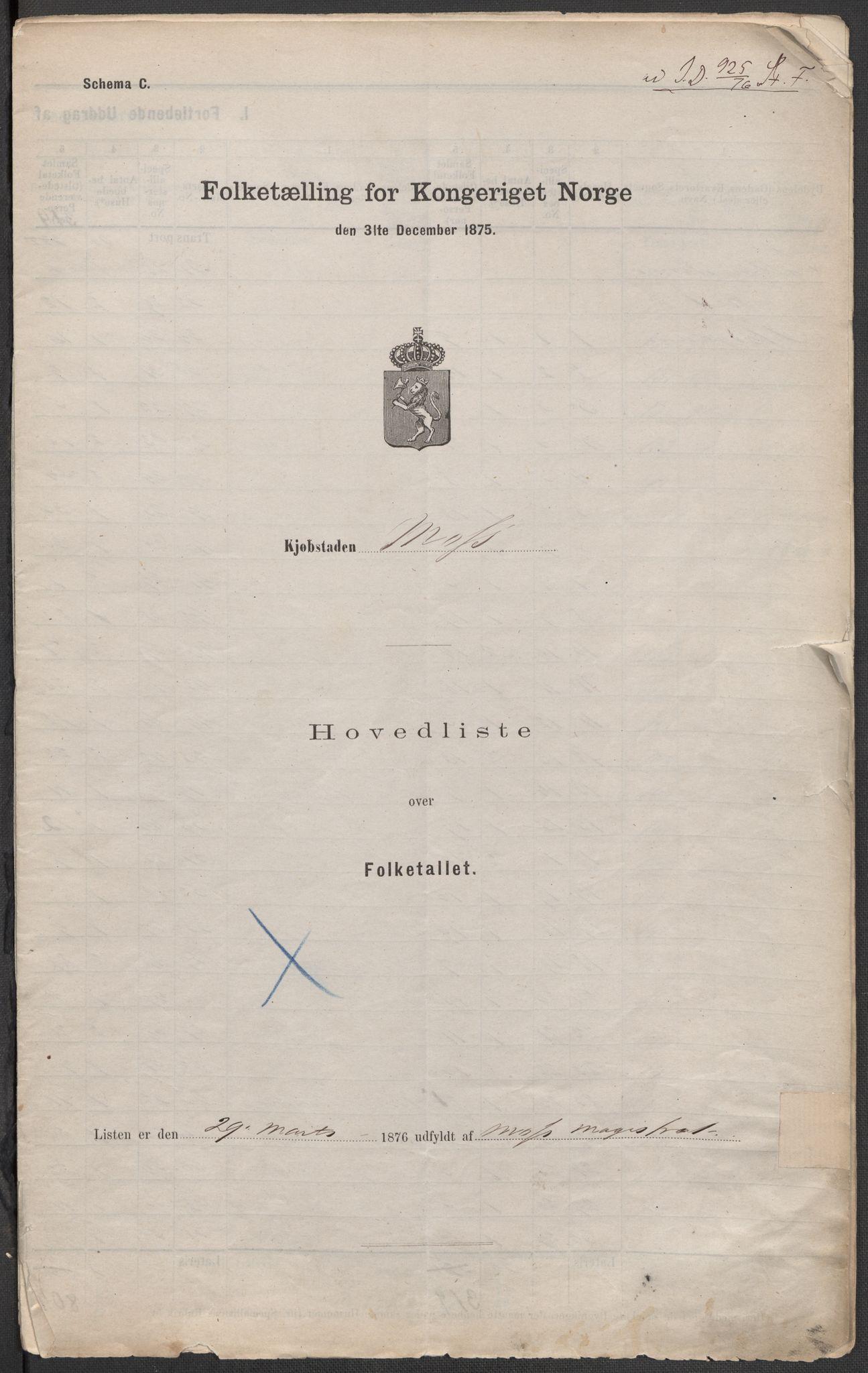 RA, Folketelling 1875 for 0104B Moss prestegjeld, Moss kjøpstad, 1875, s. 1