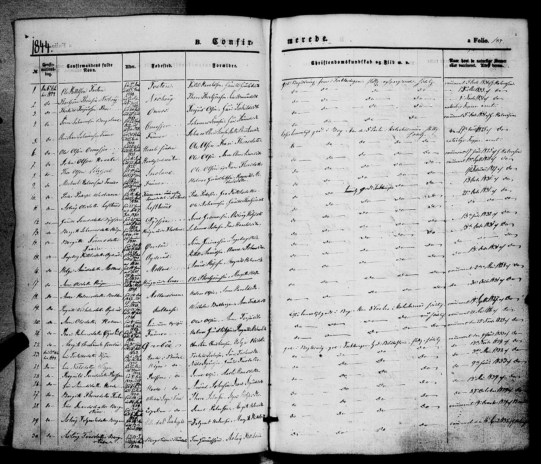 SAKO, Hjartdal kirkebøker, F/Fa/L0008: Ministerialbok nr. I 8, 1844-1859, s. 184