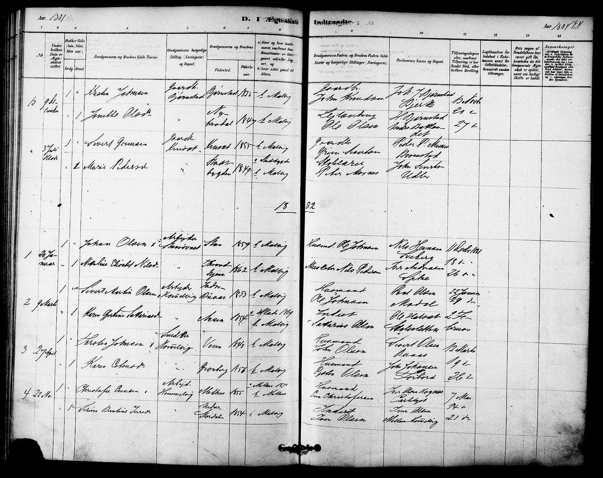 SAT, Ministerialprotokoller, klokkerbøker og fødselsregistre - Sør-Trøndelag, 616/L0410: Ministerialbok nr. 616A07, 1878-1893, s. 194